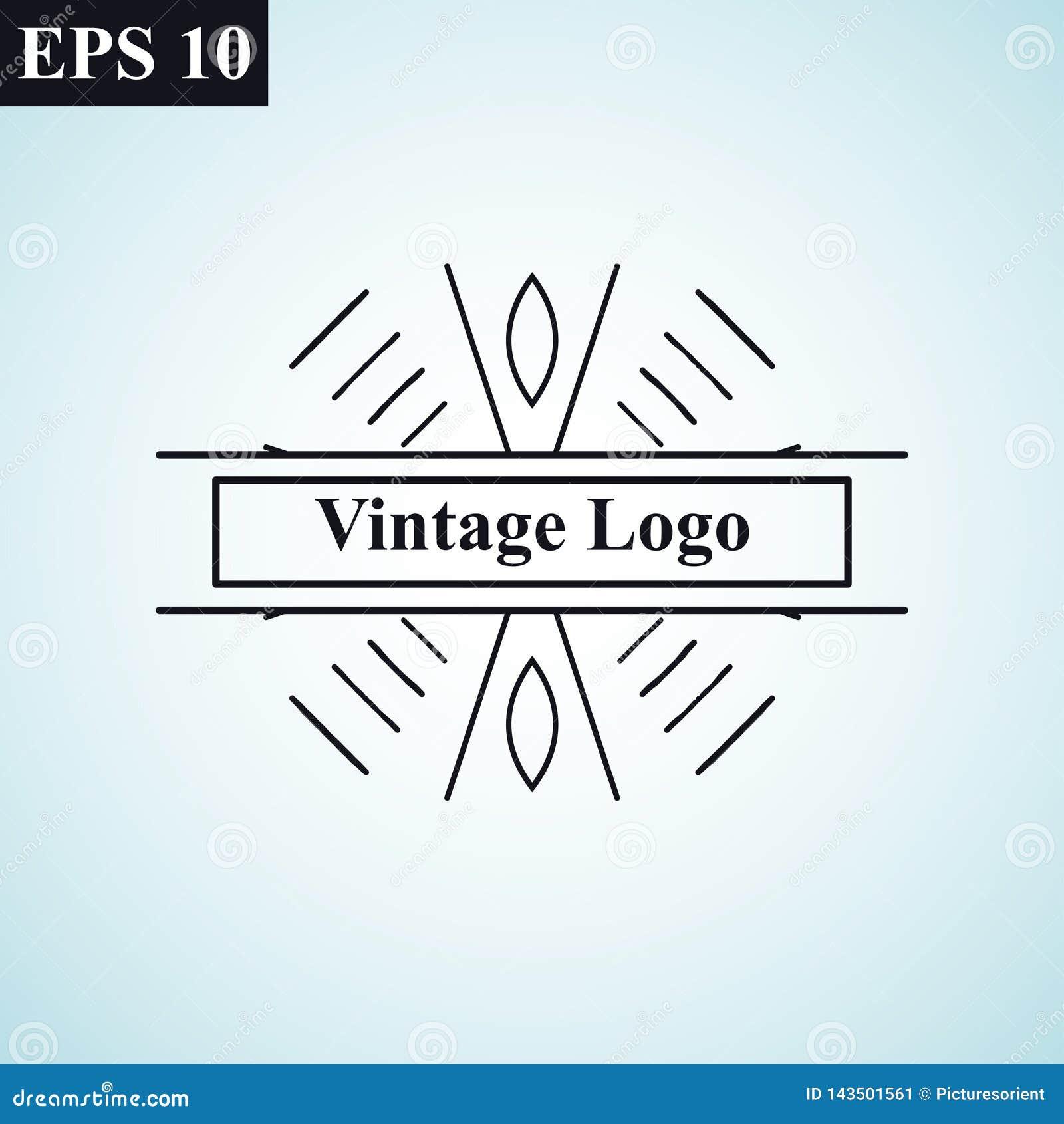 Logo linéaire de vecteur de rétro de cru d art déco cru géométrique minimal monochrome antique ornemental de luxe de hippie