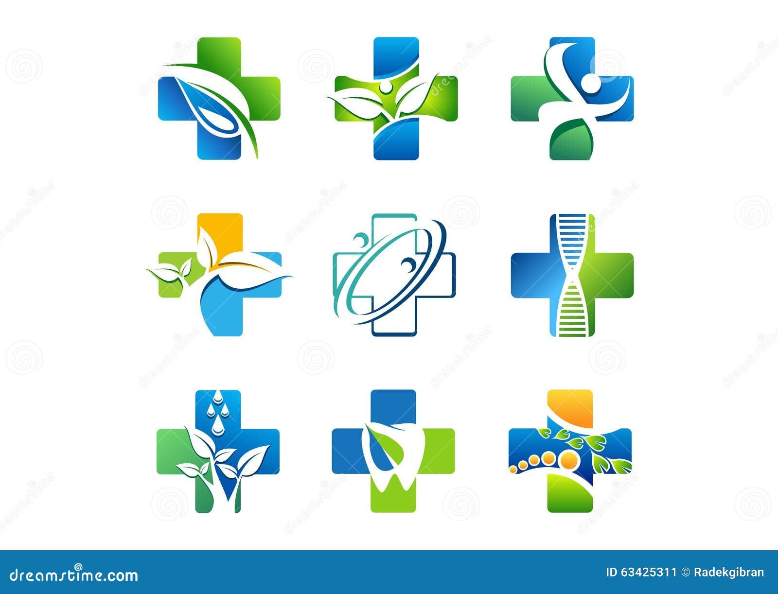 Logo medico della farmacia, icone della medicina di salute, progettazione naturale di vettore dell erba di simbolo
