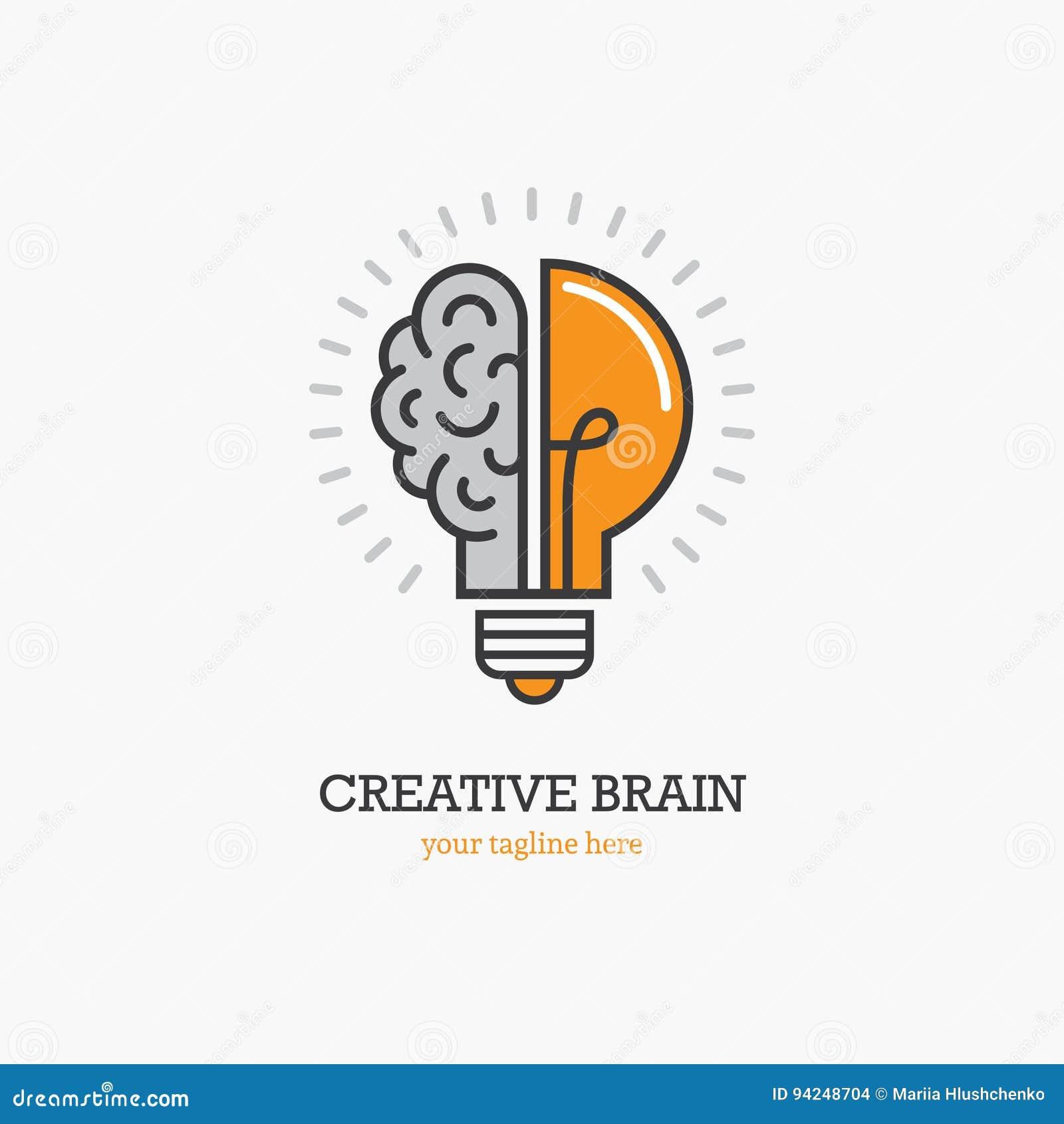 Logo mit einer Hälfte der Glühlampe und des Gehirns