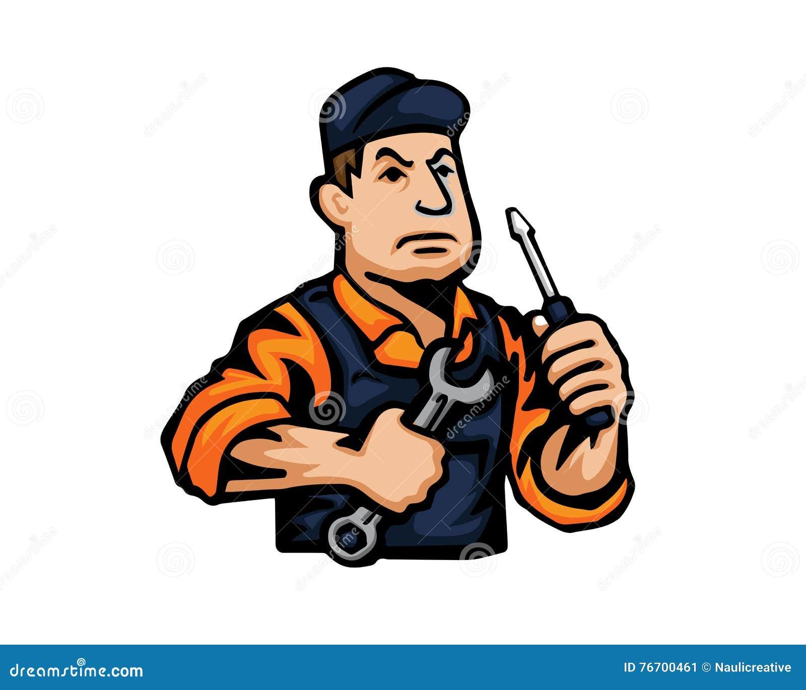 Logo moderne de bande dessinée de personnes de profession - mécanicien