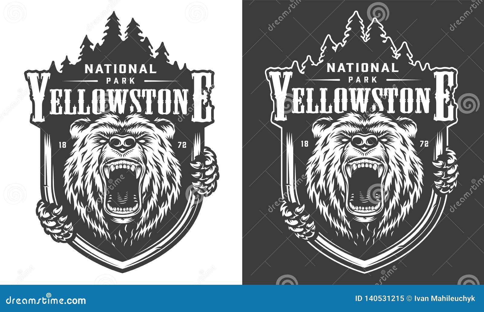 Logo monochrome de cru de parc national de Yellowstone