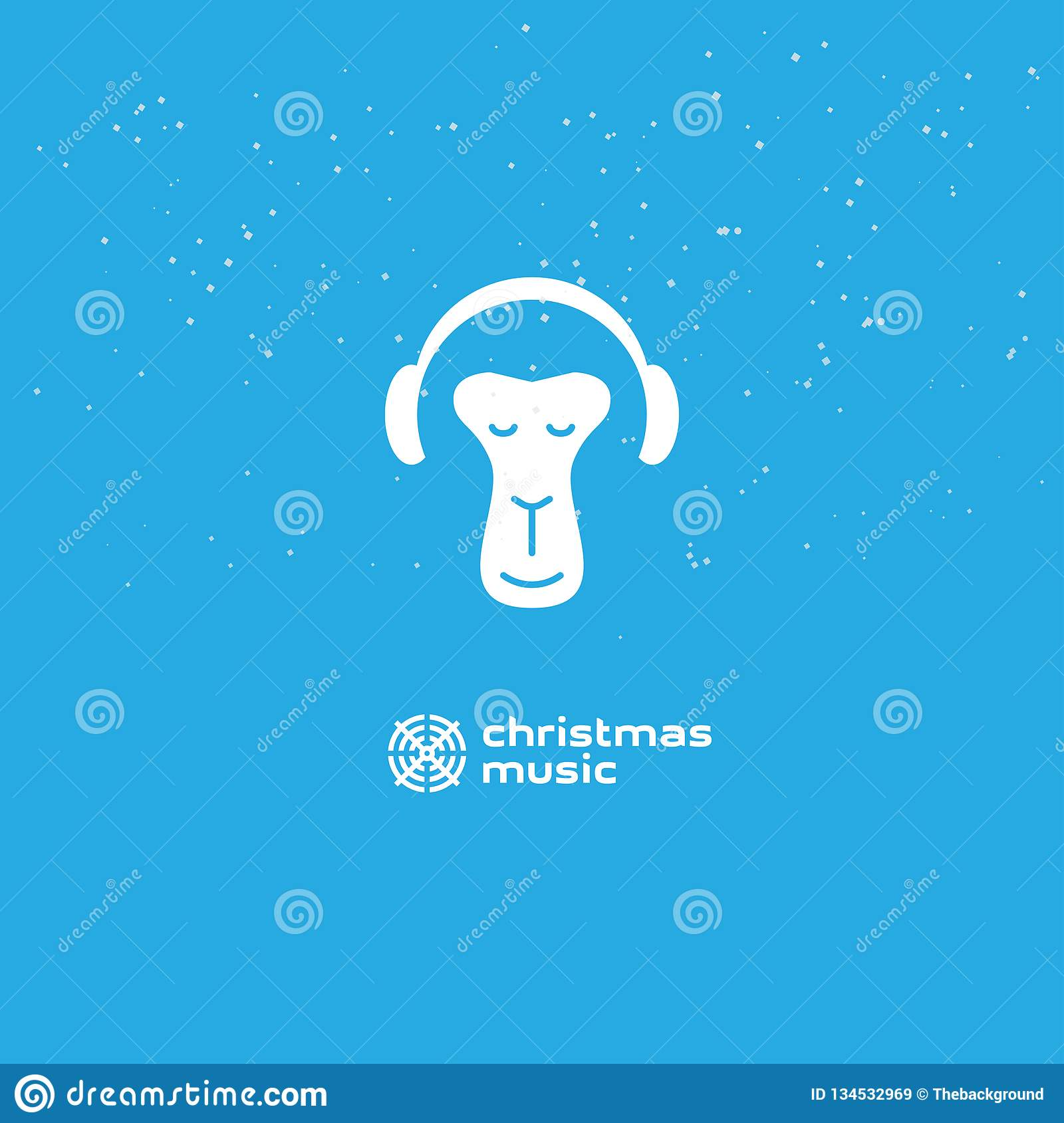 Relaxing Christmas Music.Monkey Enjoys The Christmas Music Relaxing Monkey In