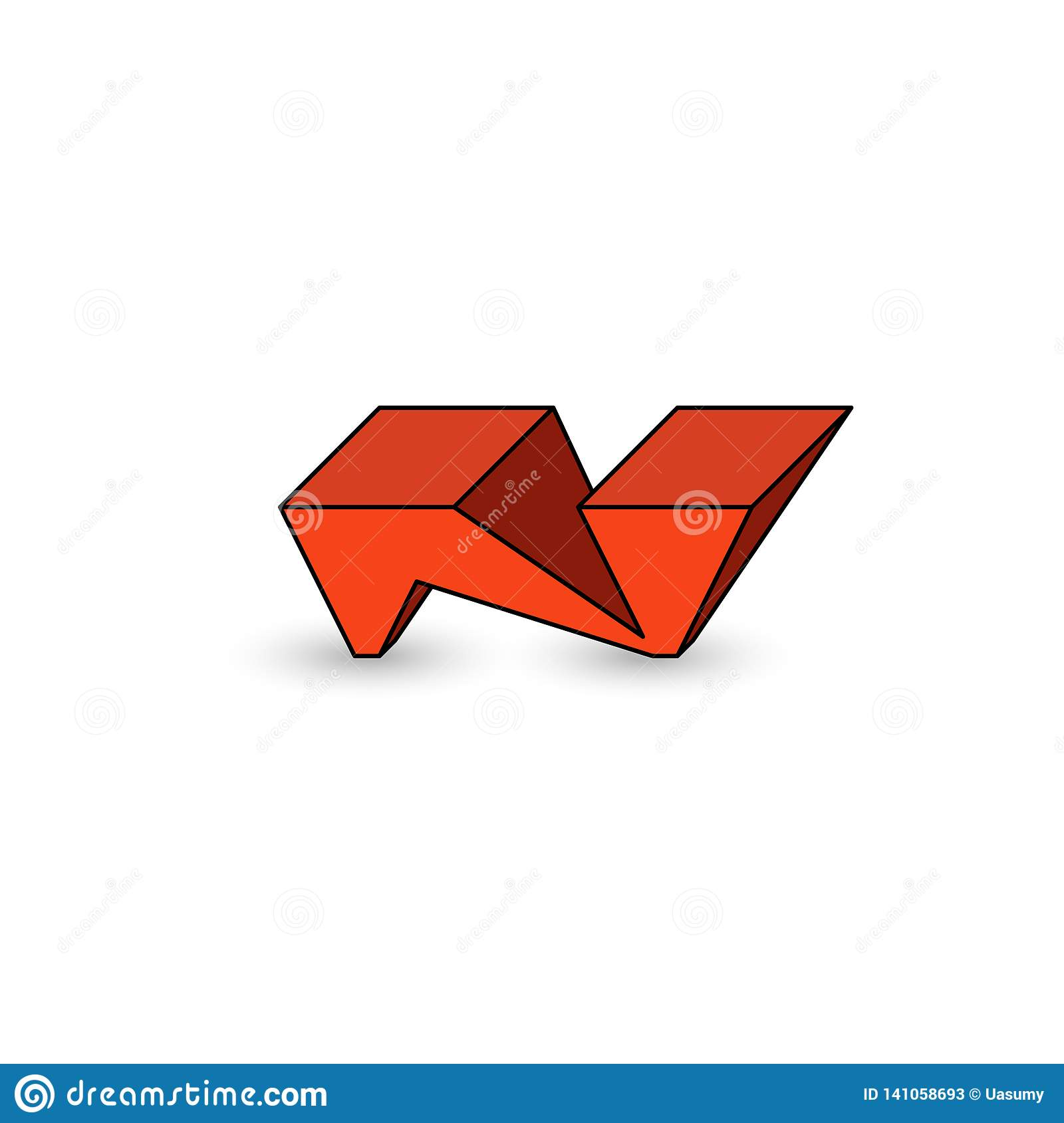Logo N Letter Graffiti Cool Youth Style 3d Isometric