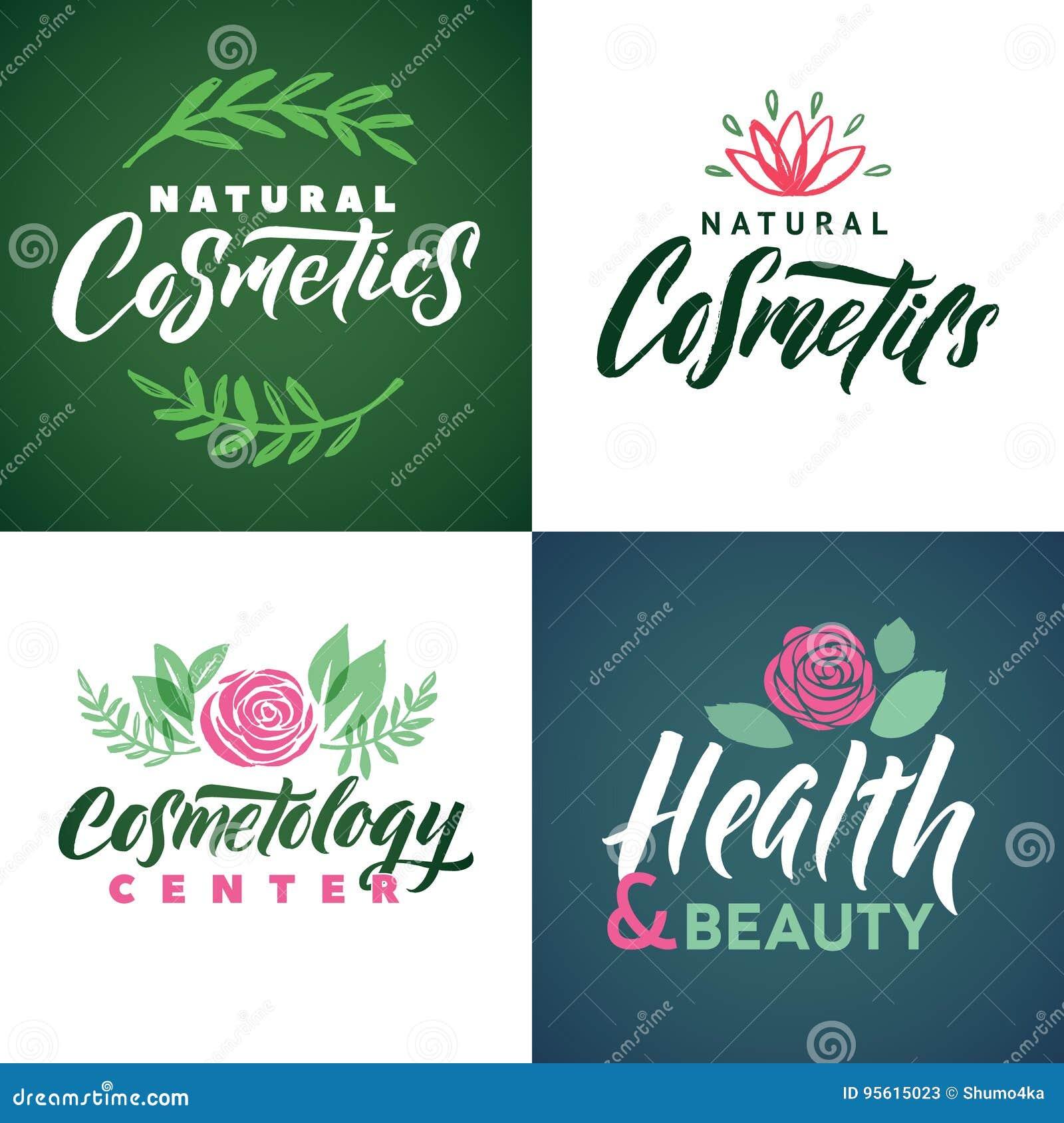 Logo naturel de vecteur de cosmétiques Santé, beauté et centre de Cosmetogy Laisse l illustration Lettrage de marque