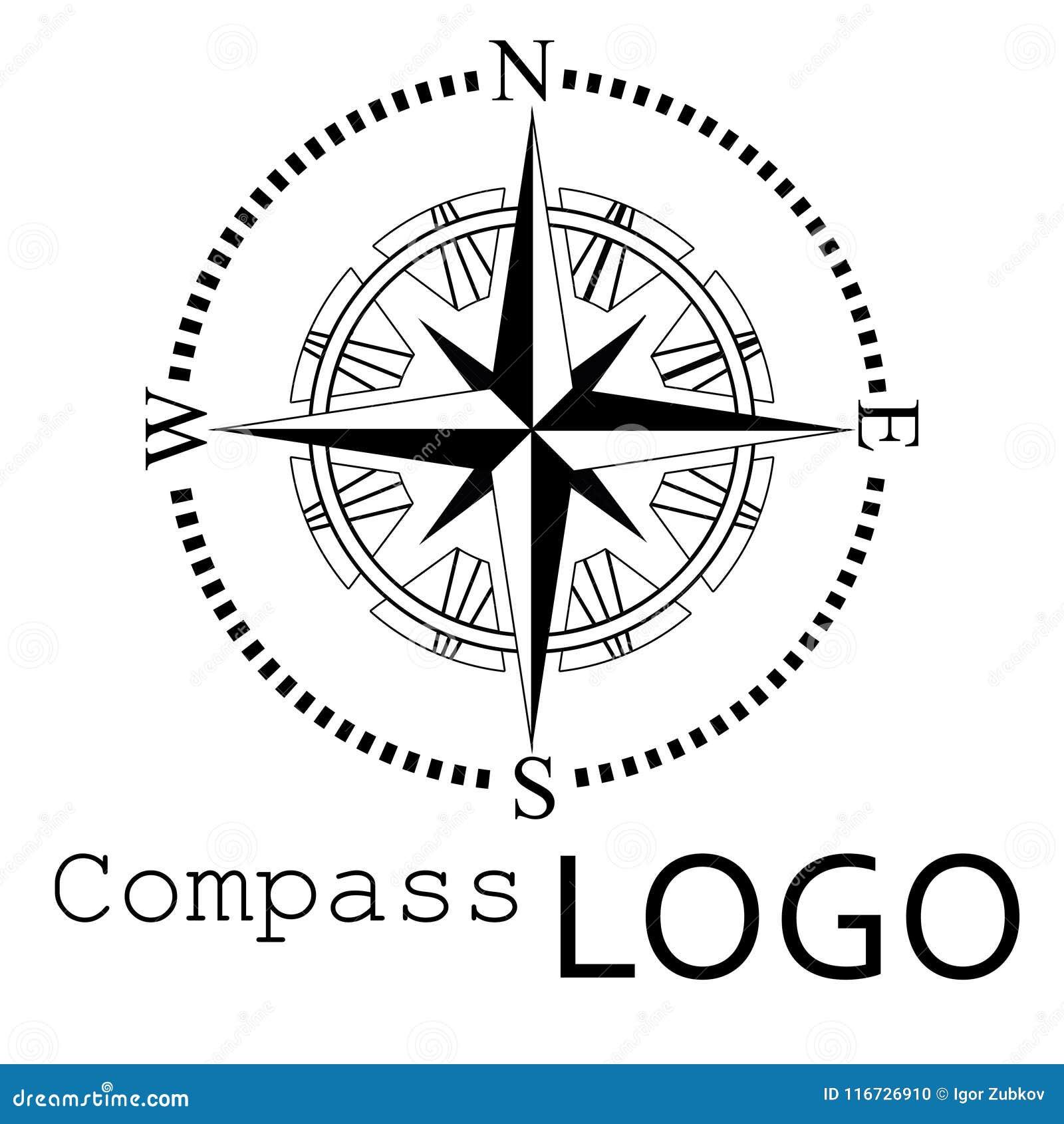 Logo Noir Et Blanc De Boussole Graphisme De Vecteur Rose De Vent