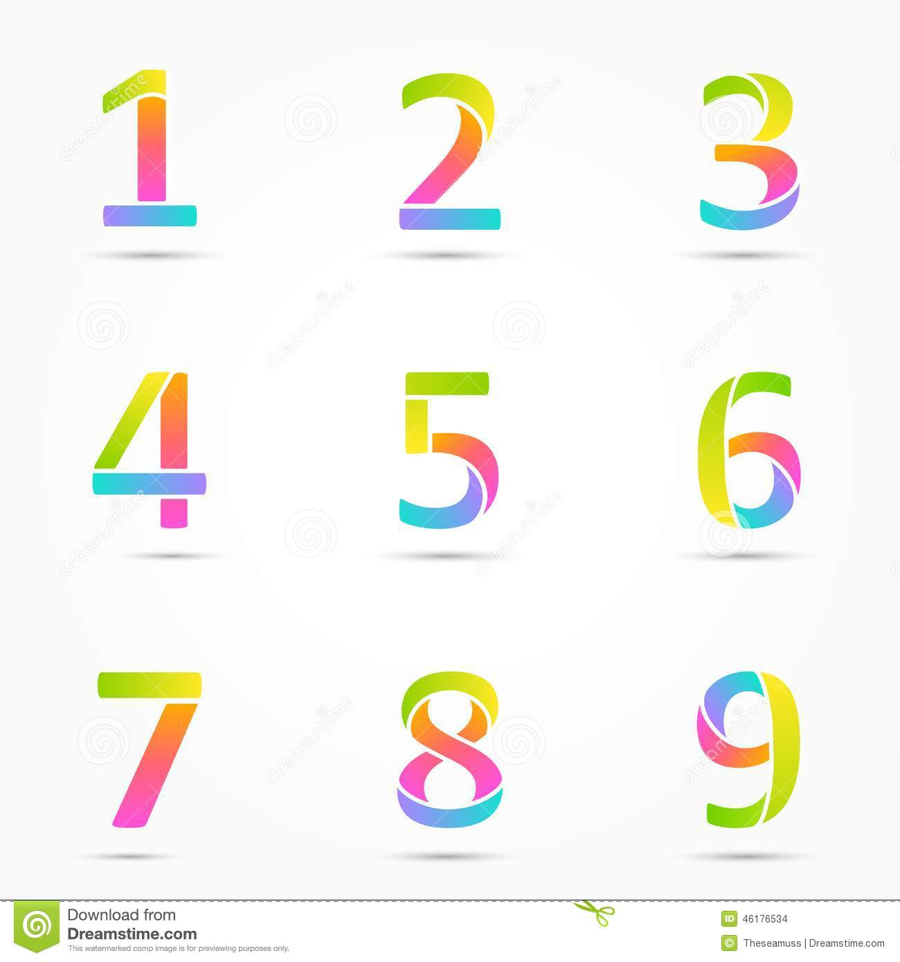 Logo Numbers 1, 2, 3, 4, 5, 6, 7, 8, 9 Template. Stock Vector ...