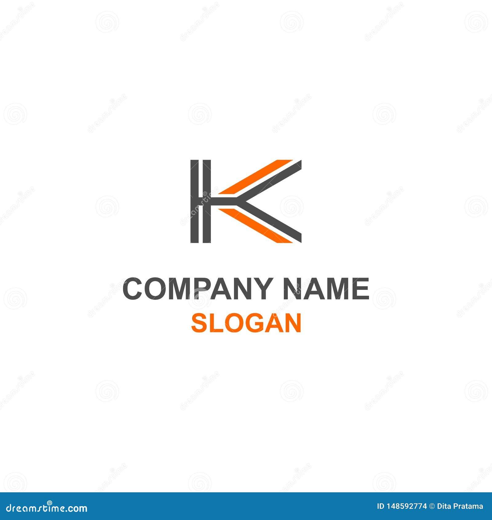 Logo Orange De Noir Dinitiale De Lettre De K Illustration