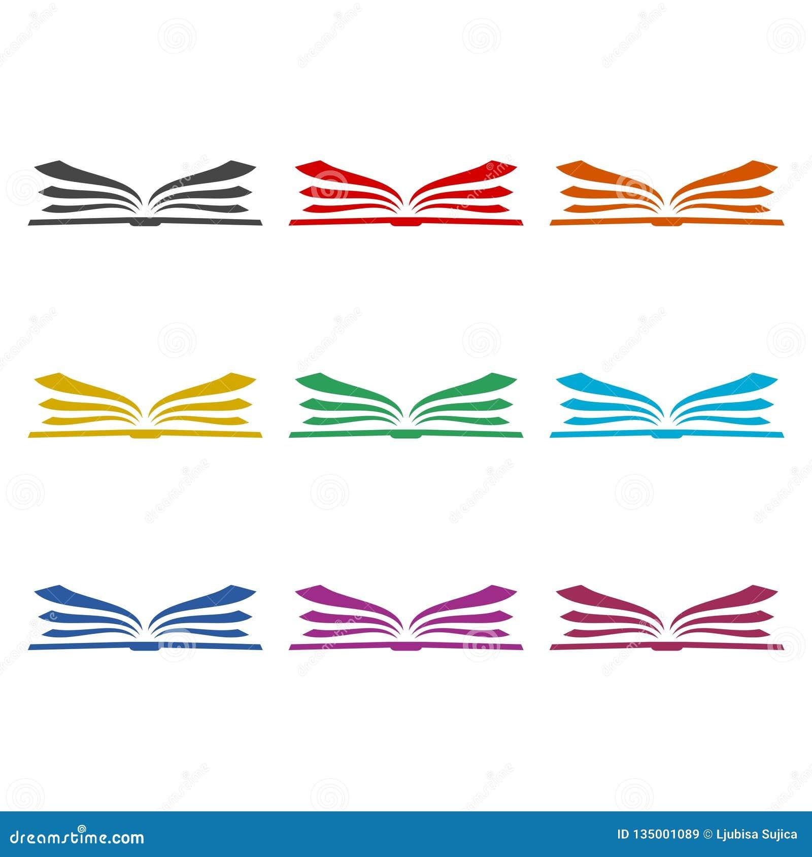 Logo Ouvert De Livre Icone De Livre Ensemble De Couleur