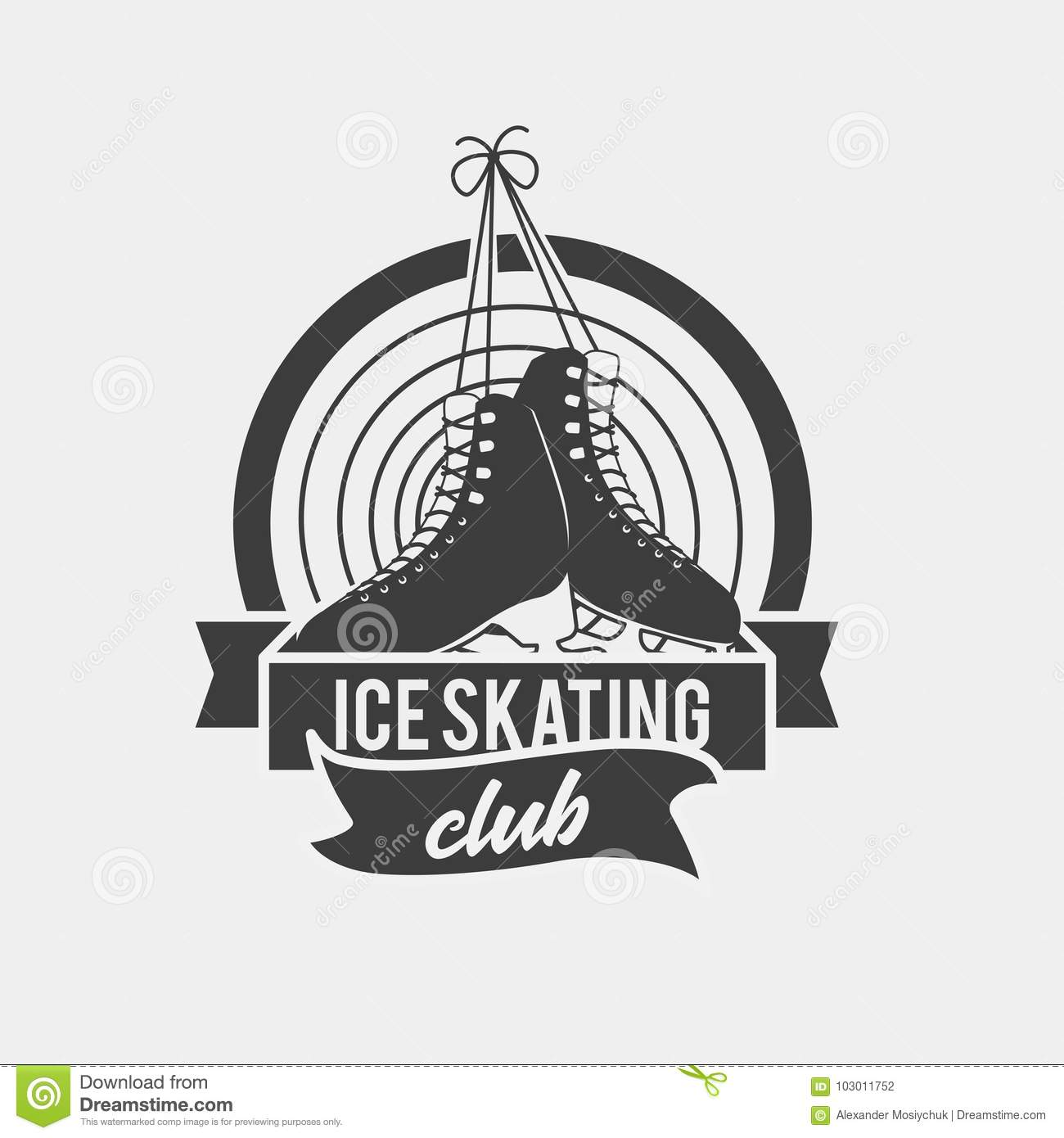logo with a pair of tied ice skates stock vector illustration of