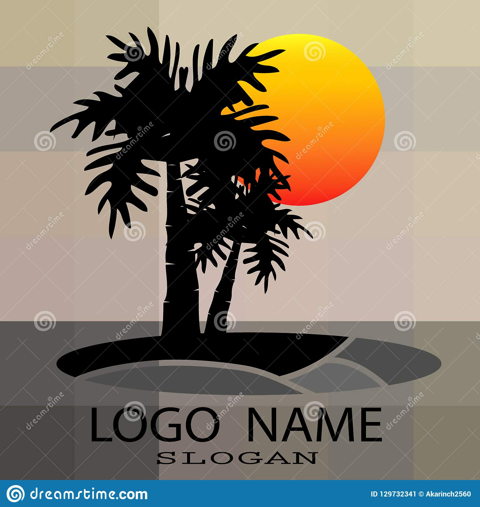 Logo of palm and coconut trees, vector illustration,