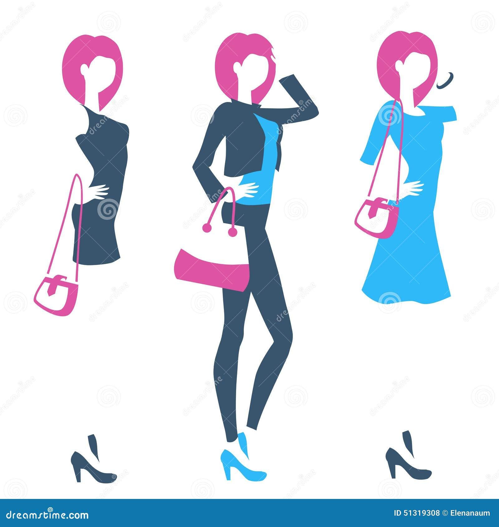 625abcfa06f4 Emblema simbolico con la siluetta diritta di giovane donna snella La ragazza  di modo porta i jeans o il vestito Logo per il boutique