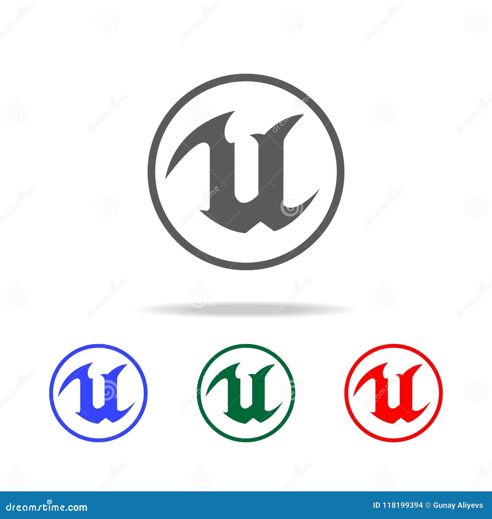Logo per l icona della lettera U Elementi di vita del gioco nelle multi icone colorate Icona premio di progettazione grafica di q