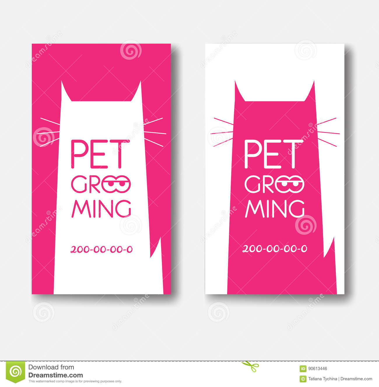 Logo For Pet Grooming Salon With Cat Silhouette. Animals Hair Stock ...