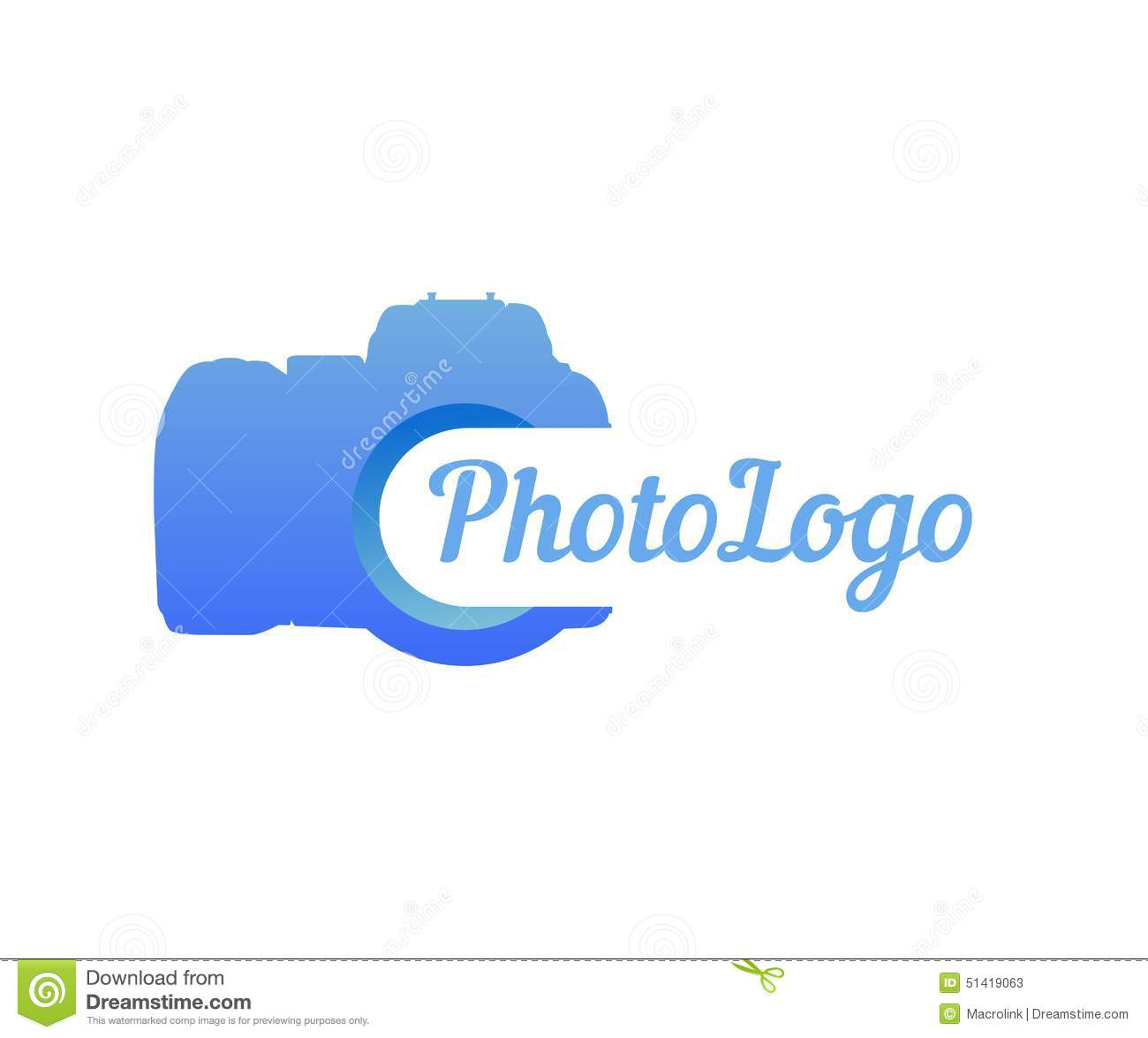 logo of photo camera in blue color stock vector image