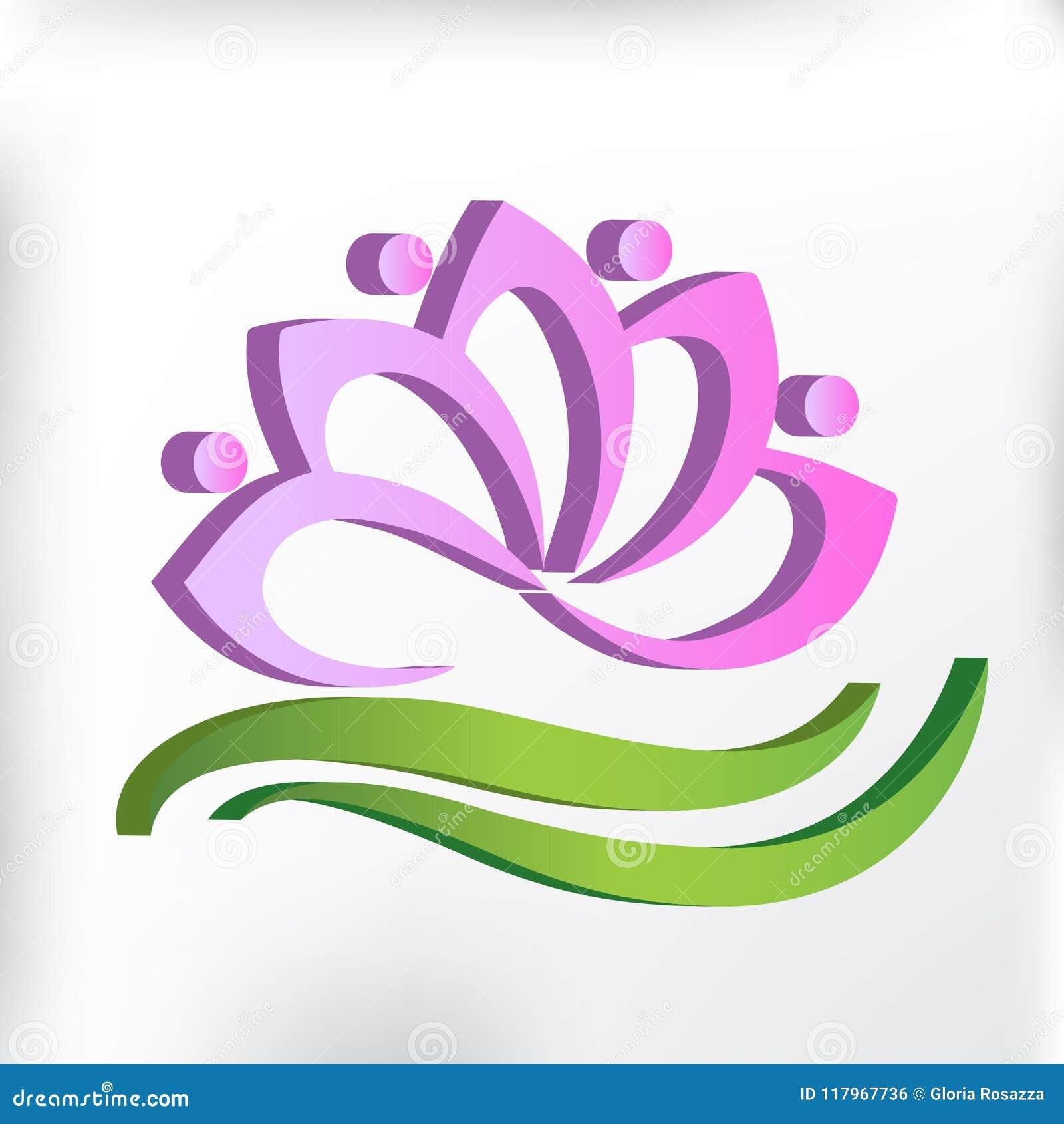 Logo Pink Lotus 3d Flower Teamwork Symbol Of Yoga Vector Image