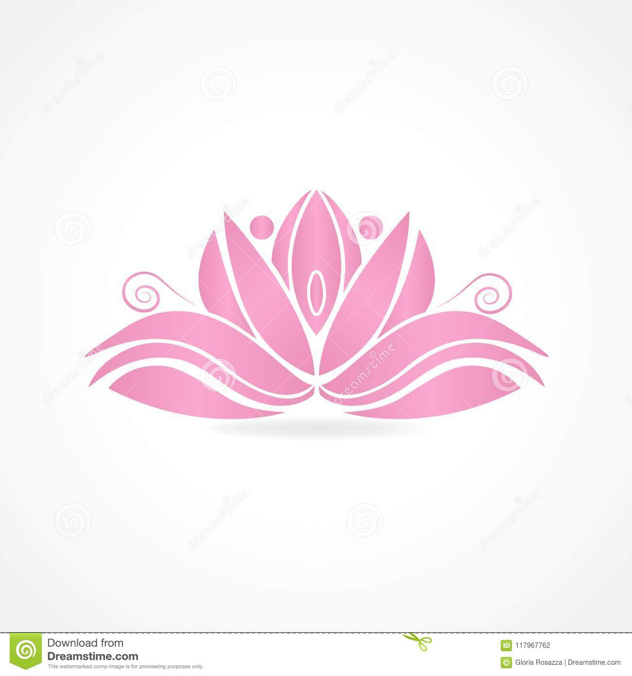 Logo Lotus Flower People Symbol Of Yoga Vector Image Illustration