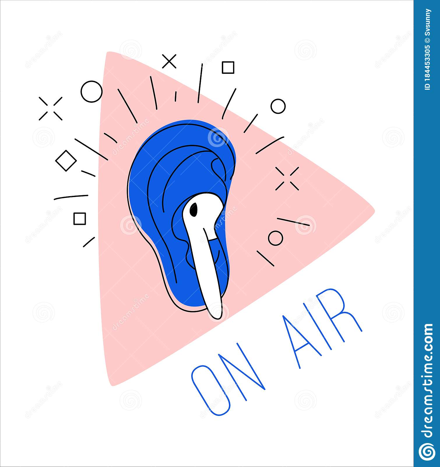 Logo Podcast Radio Broadcast Ear Earphone Pink Play Button Background Stock Vector Illustration Of Drawn Graphic 184453305