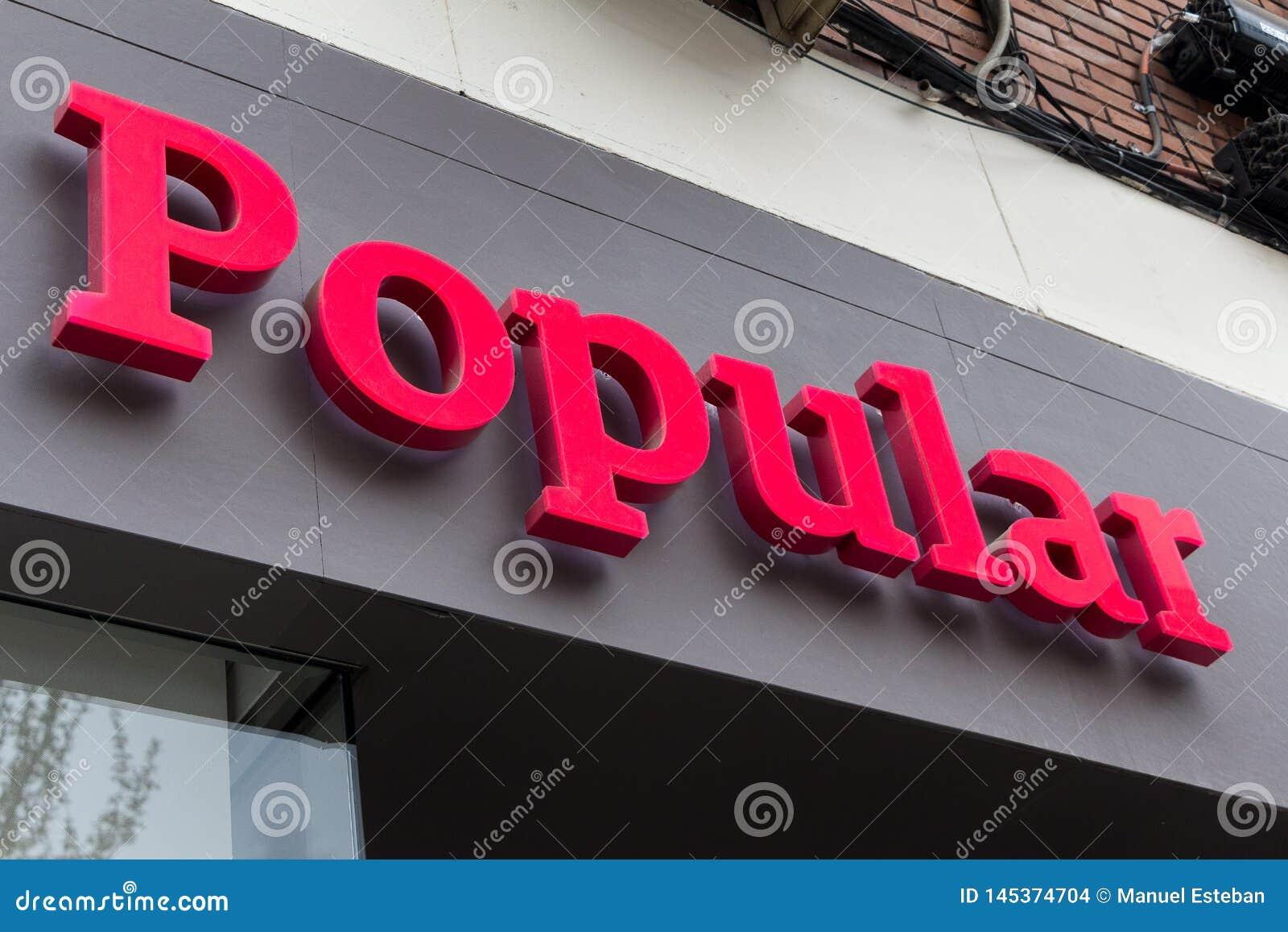 Logo populaire sur le bureau populaire de succursale bancaire