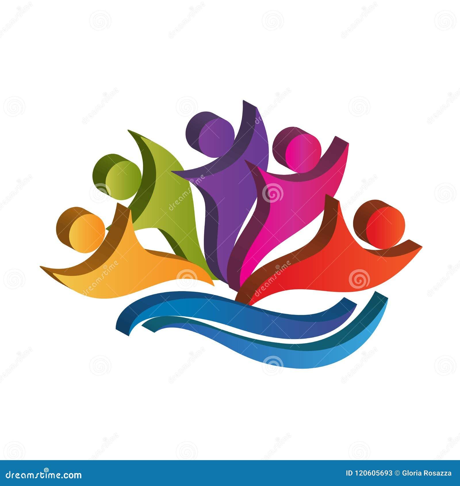 Logo pracy zespołowej partnerów 3d szczęśliwej kolorowej ikony ludzie