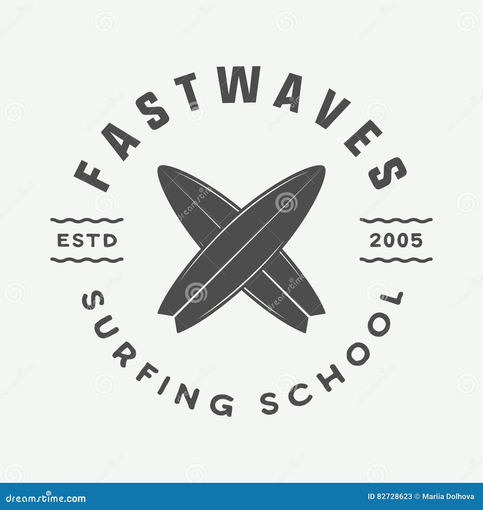 Logo praticante il surfing d annata, emblema, distintivo, etichetta, segno