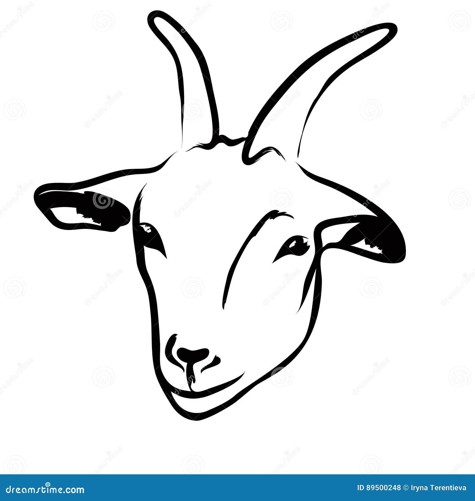 D Line Drawings Logo : Logo principal de chèvre illustration vecteur image