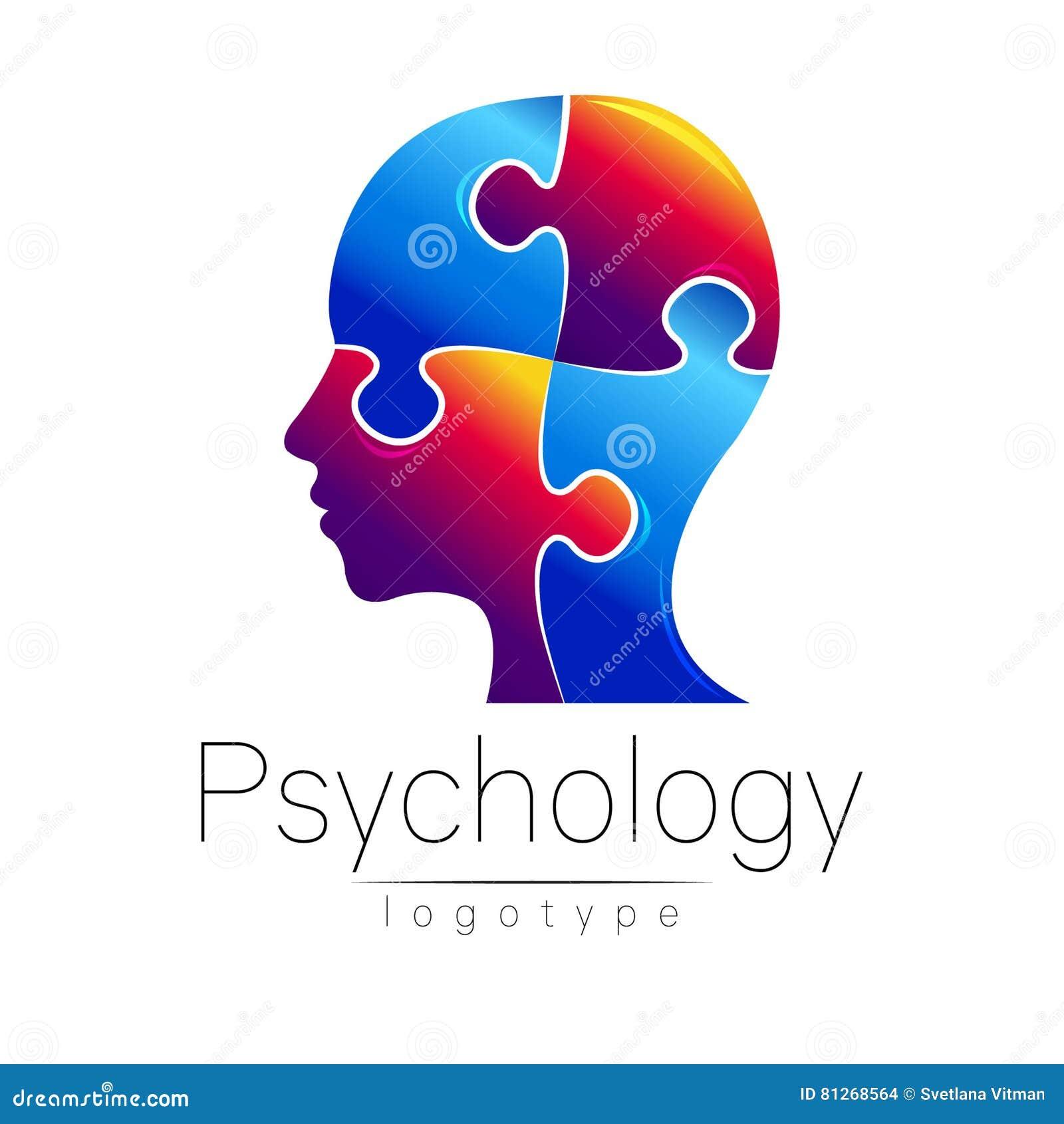 Logo principal moderne de puzzle de la psychologie Humain de profil Type créateur Logotype dans le vecteur Concept de constructio