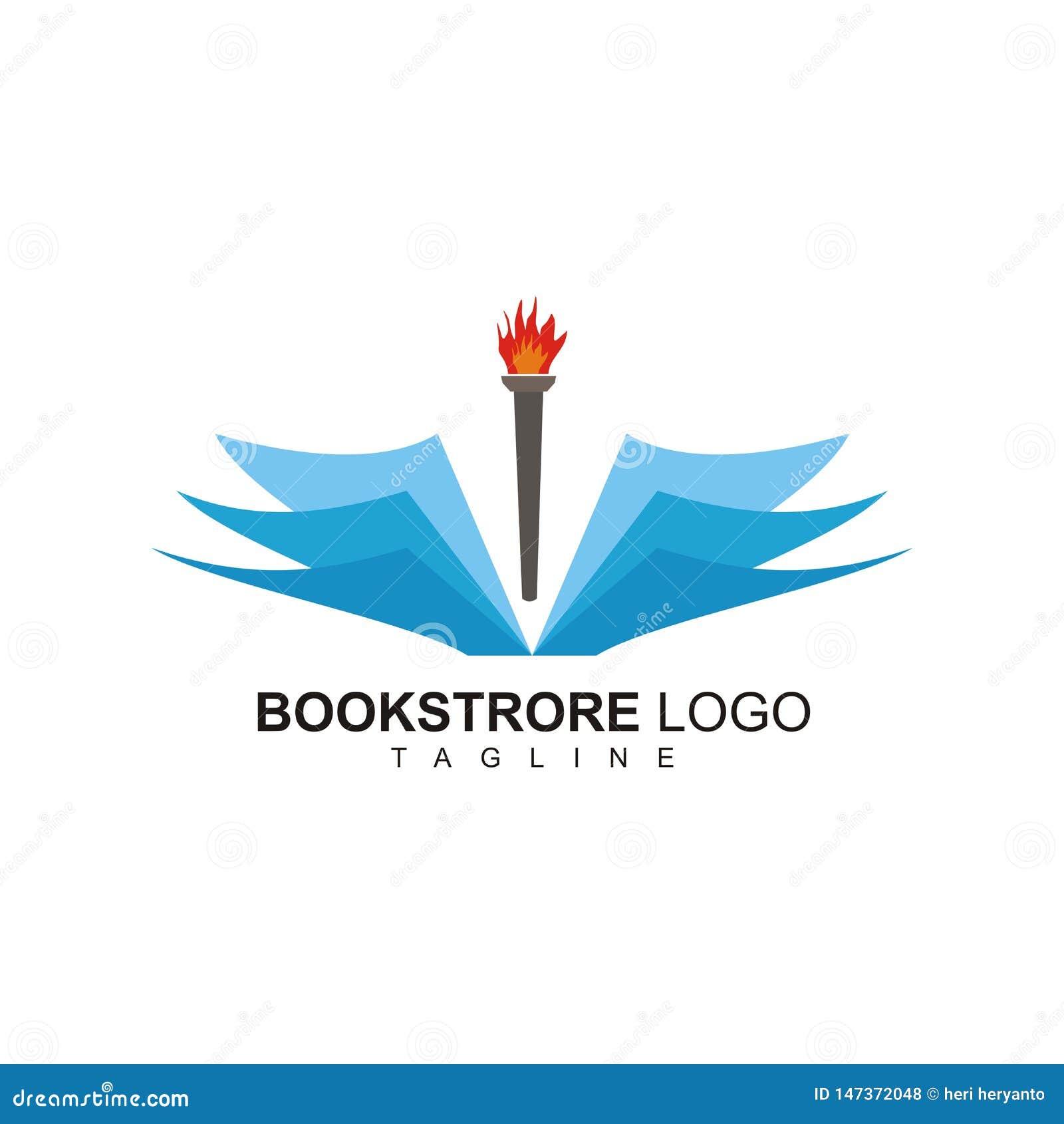 Logo projekt dla bookstore z pochodnia ogienia projektem