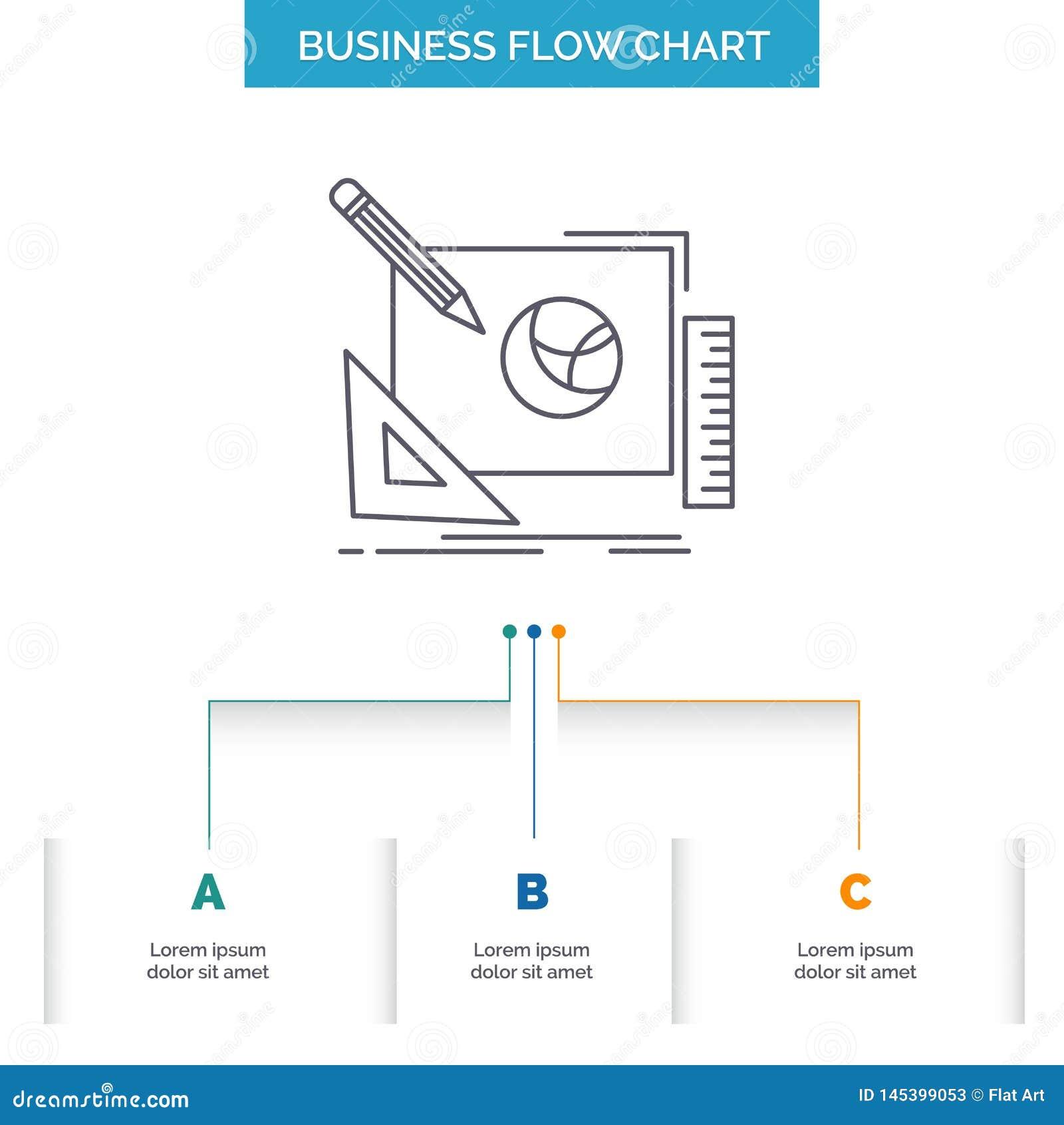 Logo, projekt, kreatywnie, pomys?, projekta procesu Sp?ywowej mapy Biznesowy projekt z 3 krokami Kreskowa ikona Dla prezentacji t