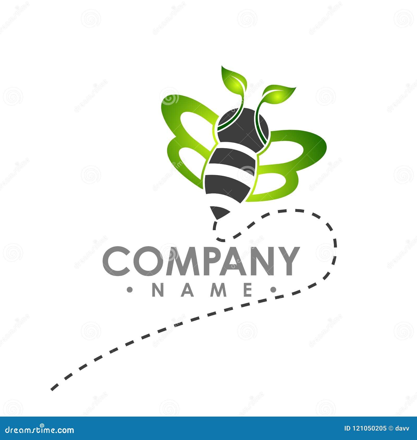 Logo pszczoły abstrakcjonistyczny latanie z zielonego liścia skrzydła loga wektorowym illust