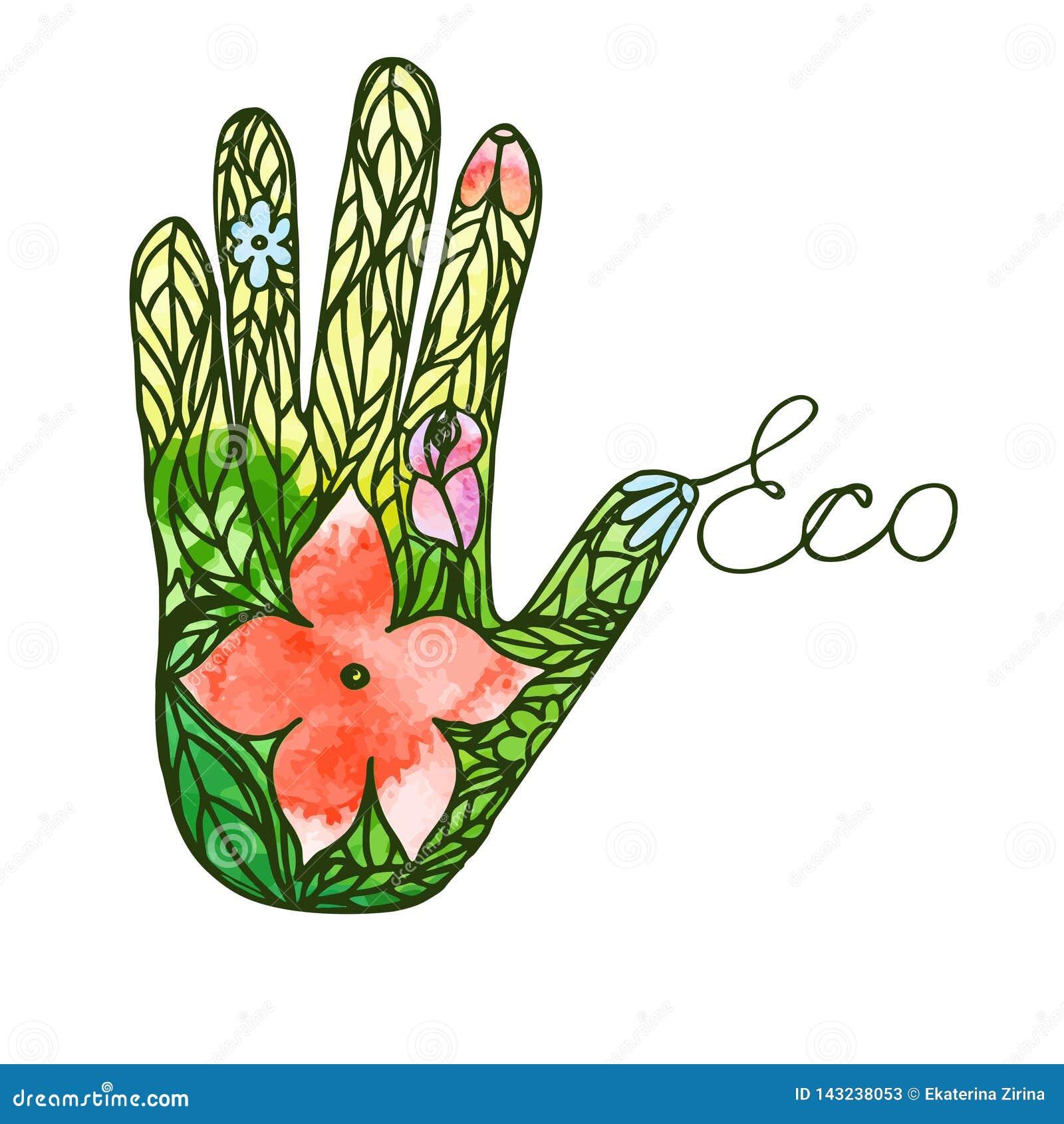 Logo ręka składa się liści i kwiatów prośby wektoru ekologicznego wizerunek