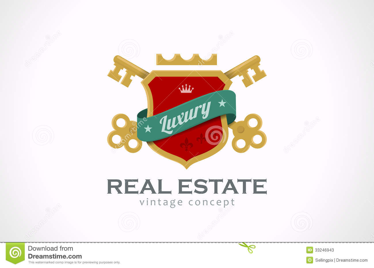 Logo real estate vintage luxury keys and shield w stock for Classic homes real estate