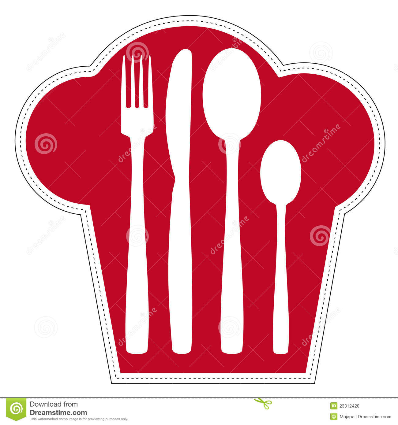 Abstract representation of cutlery in a chef's hat symbolized isolated ...