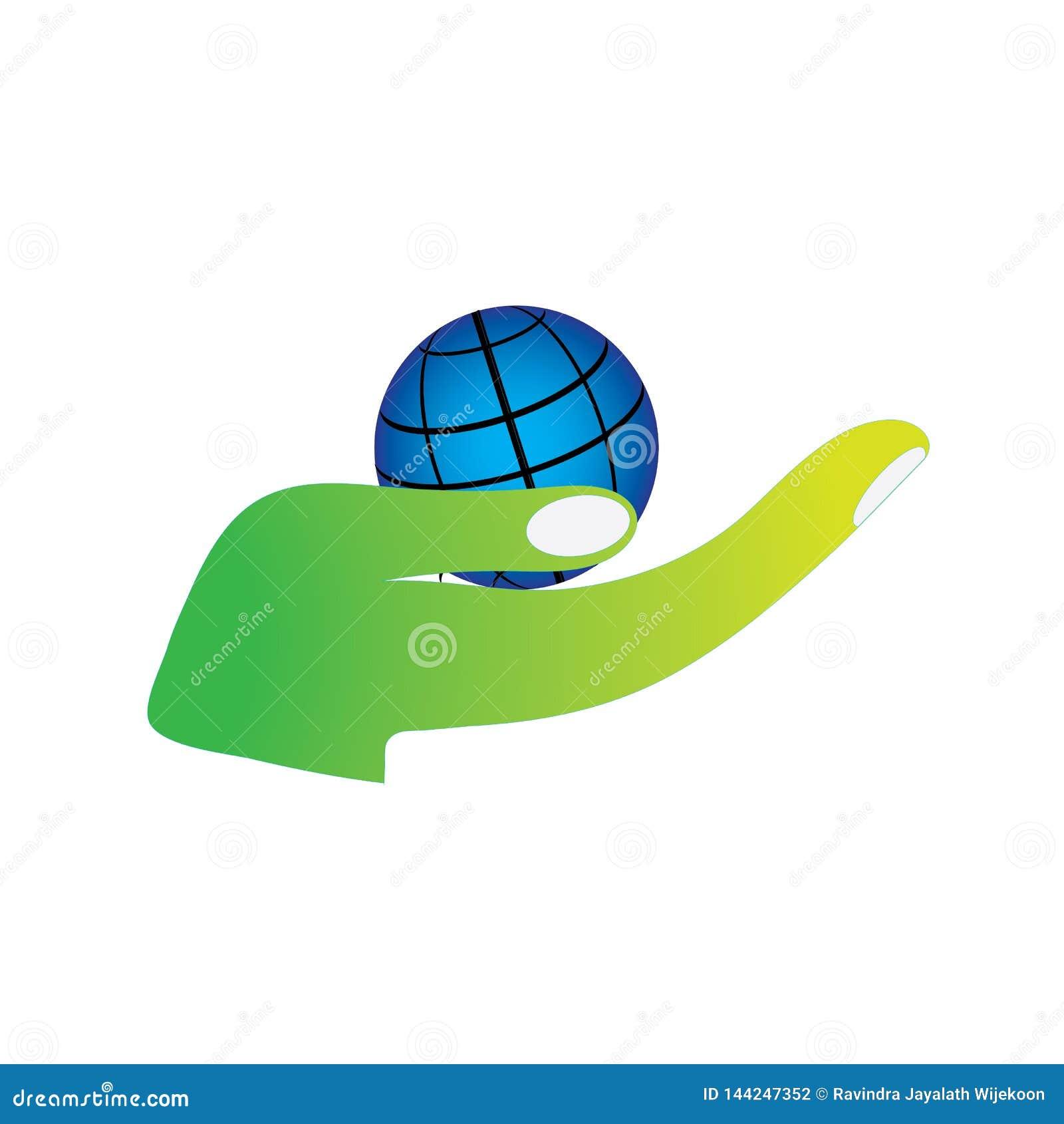Logo rispettoso dell ambiente della terra verde di risparmi del pianeta della tenuta della mano
