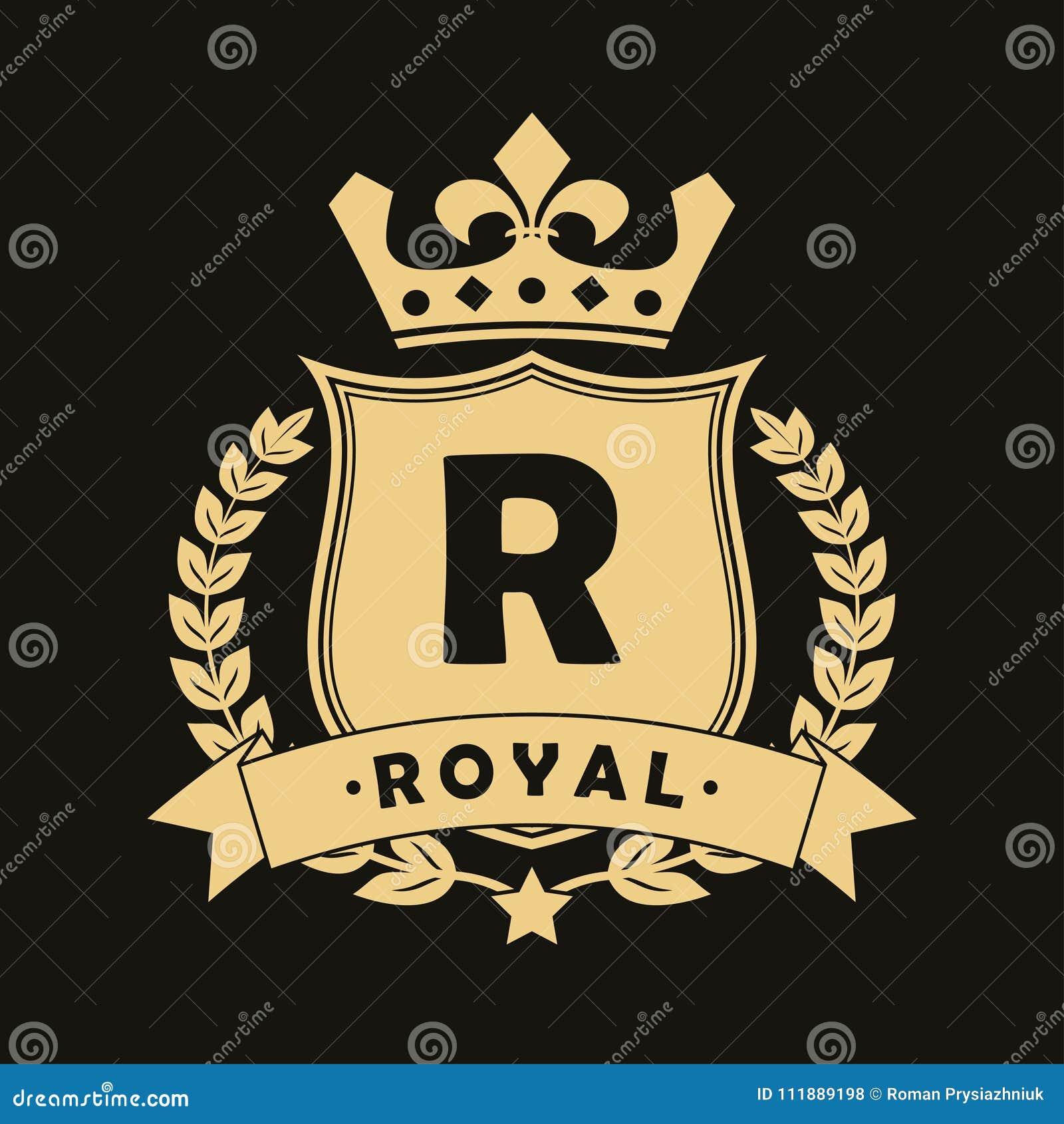 Logo royal de conception avec le bouclier, la couronne, la guirlande de laurier et le ruban Calibre de luxe de logotype pour la s