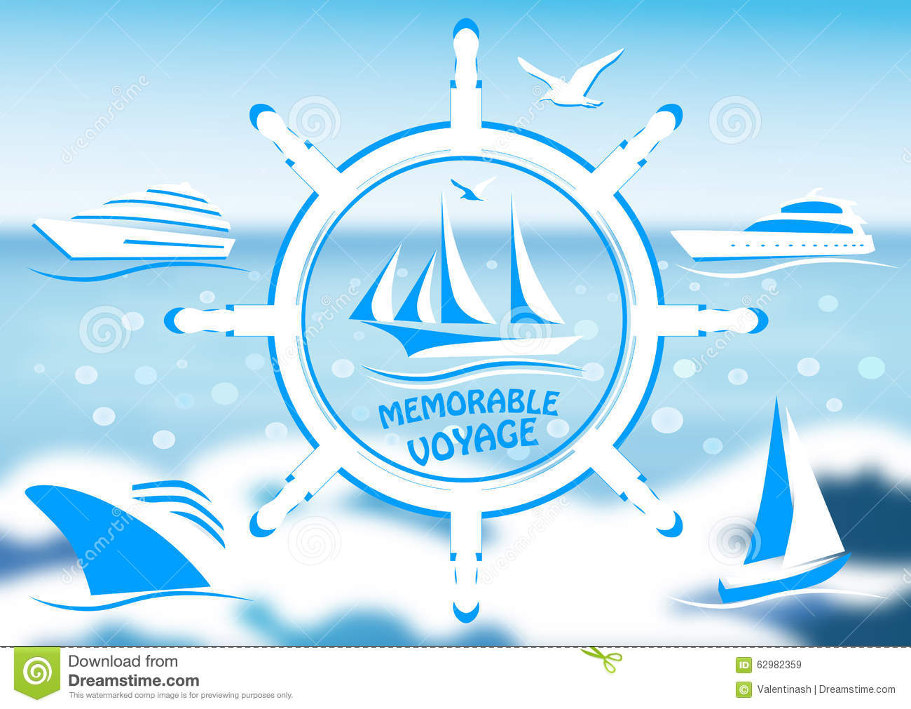 logo with a sailing vessel and steering wheel stock vector