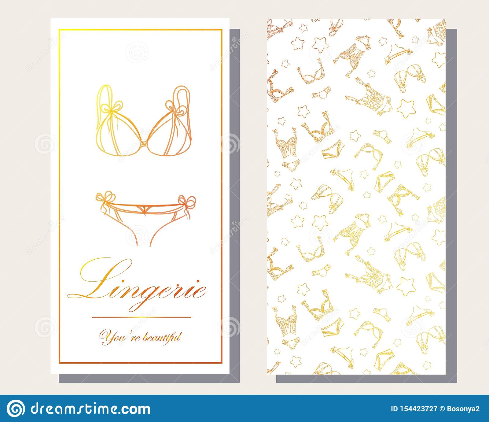 Logo and seamless pattern for Fashionable women`s lingerie collection, illustration sketch. BRAND STYLE of women`s lace