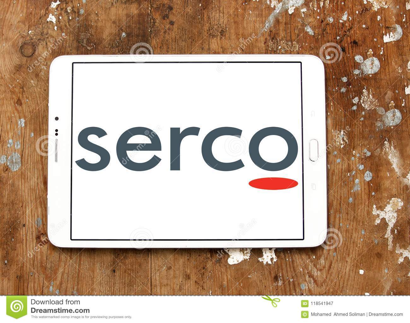 Serco public services company logo editorial photography image.