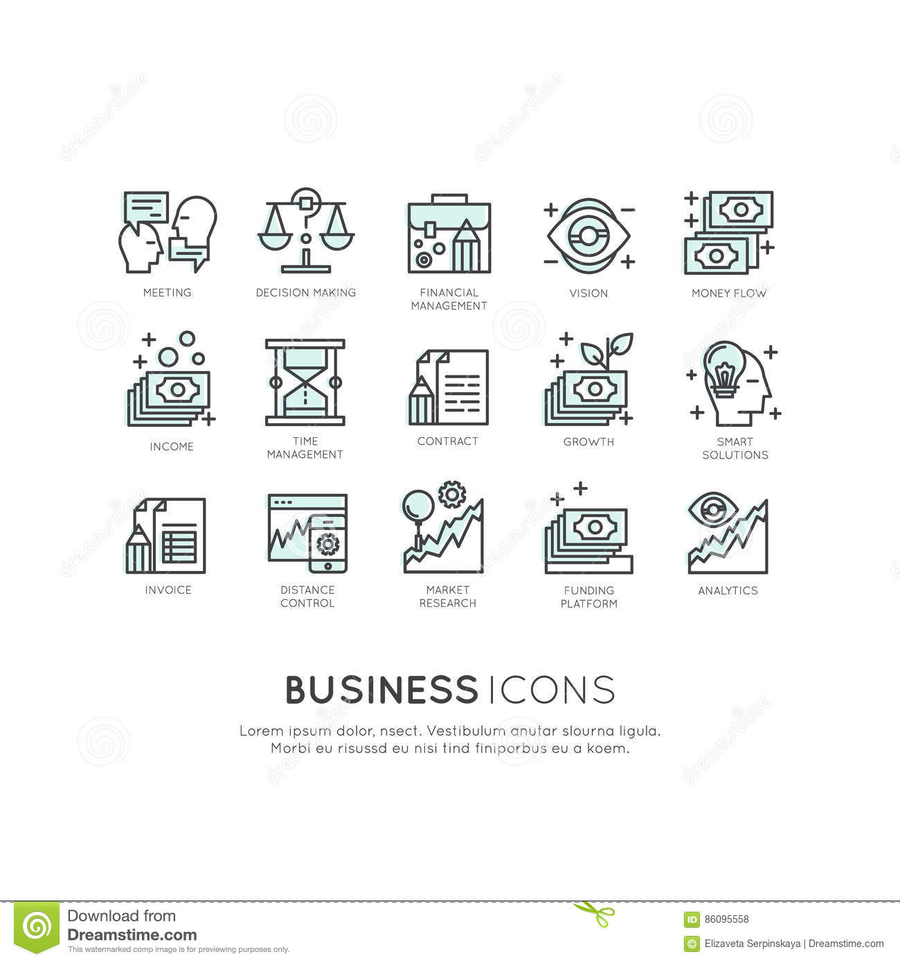 Logo Set Of Analytics, Monitoring And Management Business