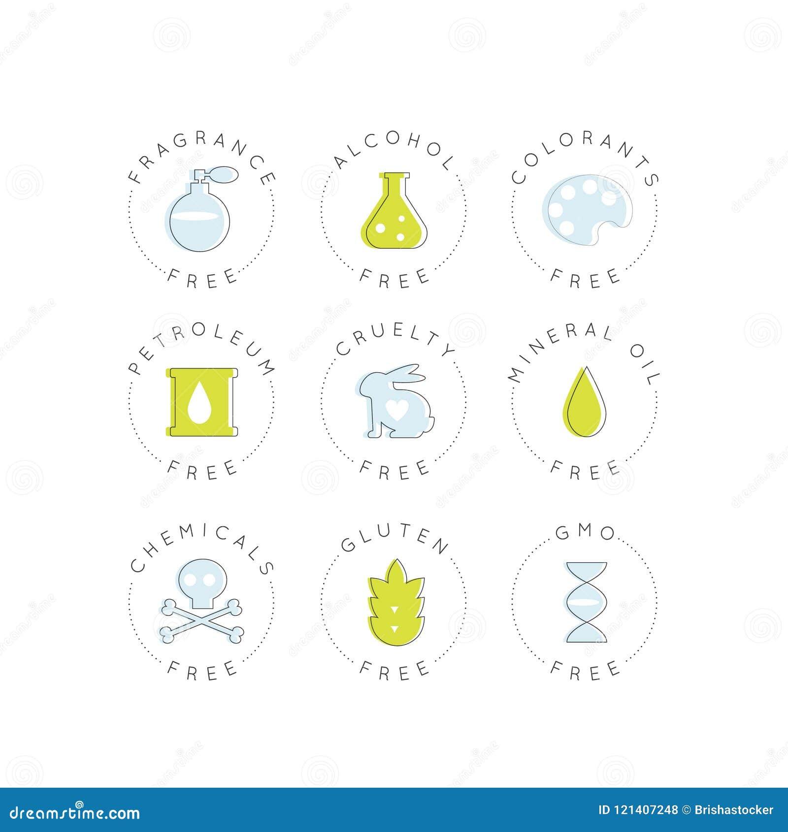 Logo Set Badge Ingredient Warning-Aufkleber-Ikonen GMO, Duft, Grausamkeit, Alkohol, Farbstoffe, Erdöl, Mineralöle, Chemikalien, G