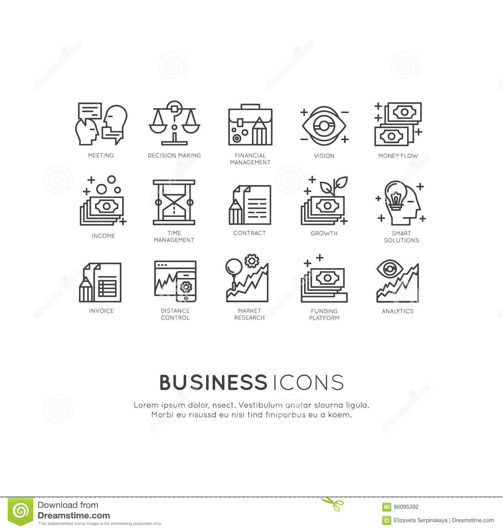 Logo Set del Analytics, supervisión y modelo comercial y estrategia de la gestión