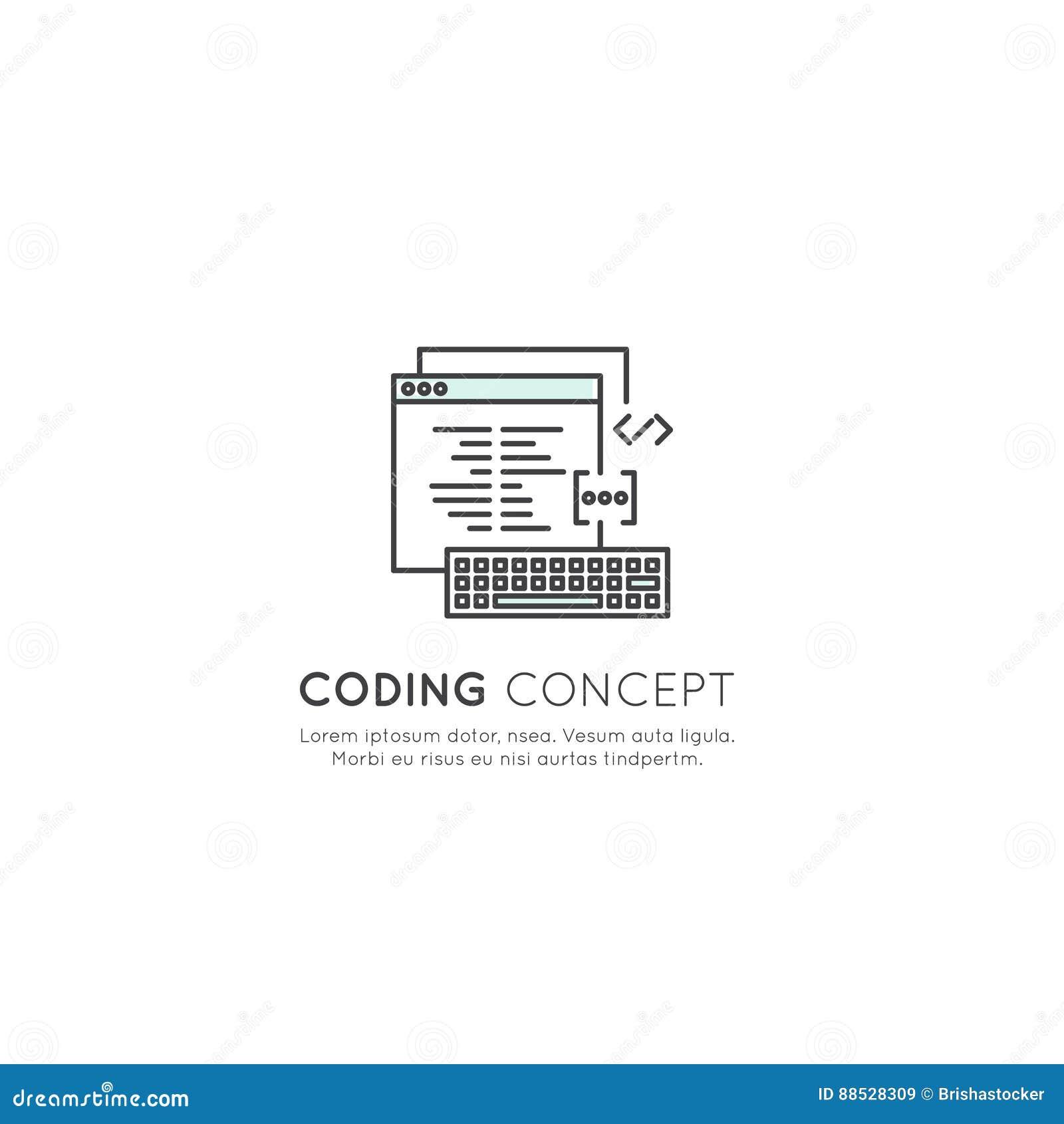 Logo Set of Program Coding App for Mobile and Web, SEO, Optimization, IT Development Process