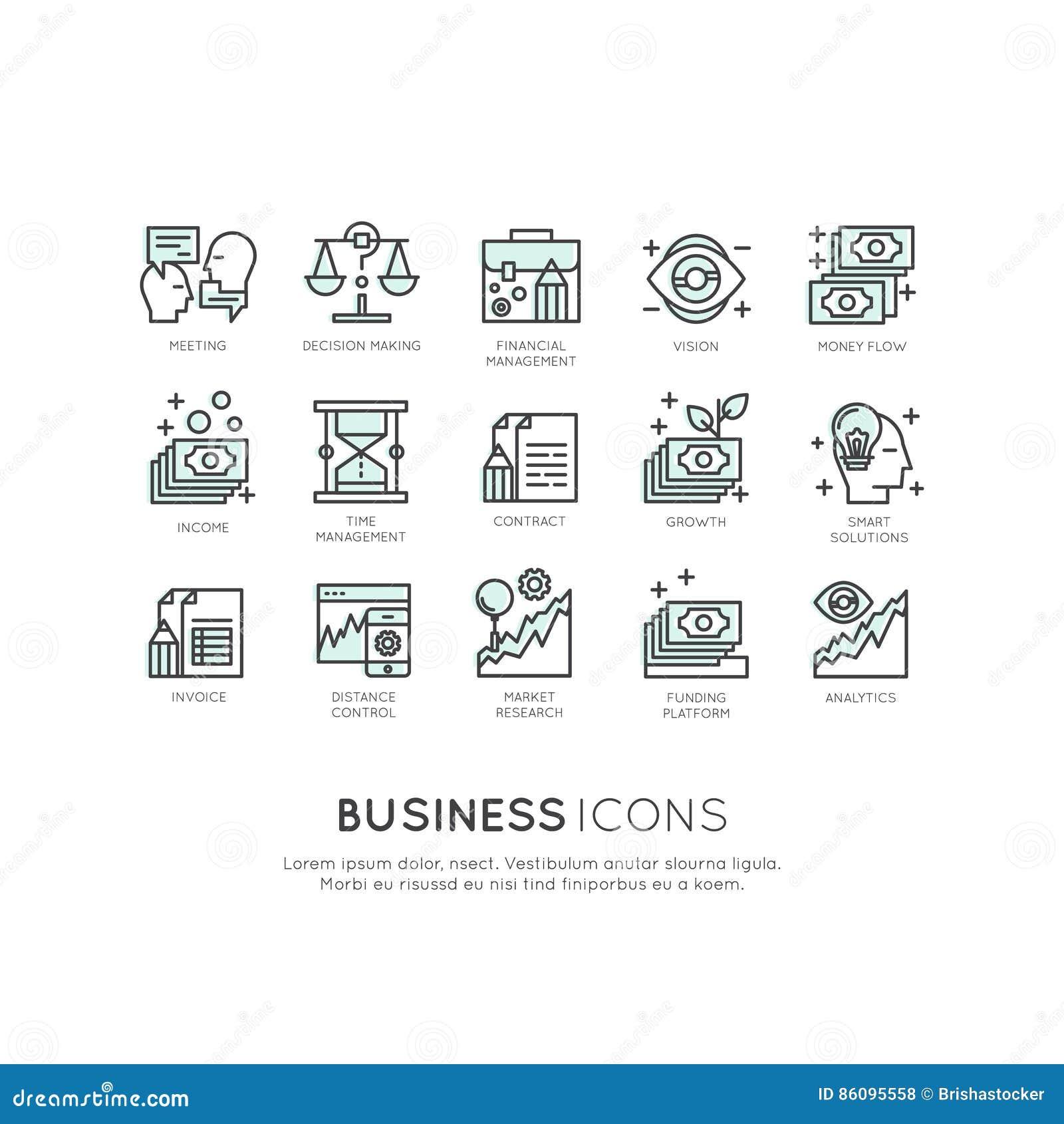 Logo Set van Analytics, Controle en Beheer Bedrijfsmodel en Strategie