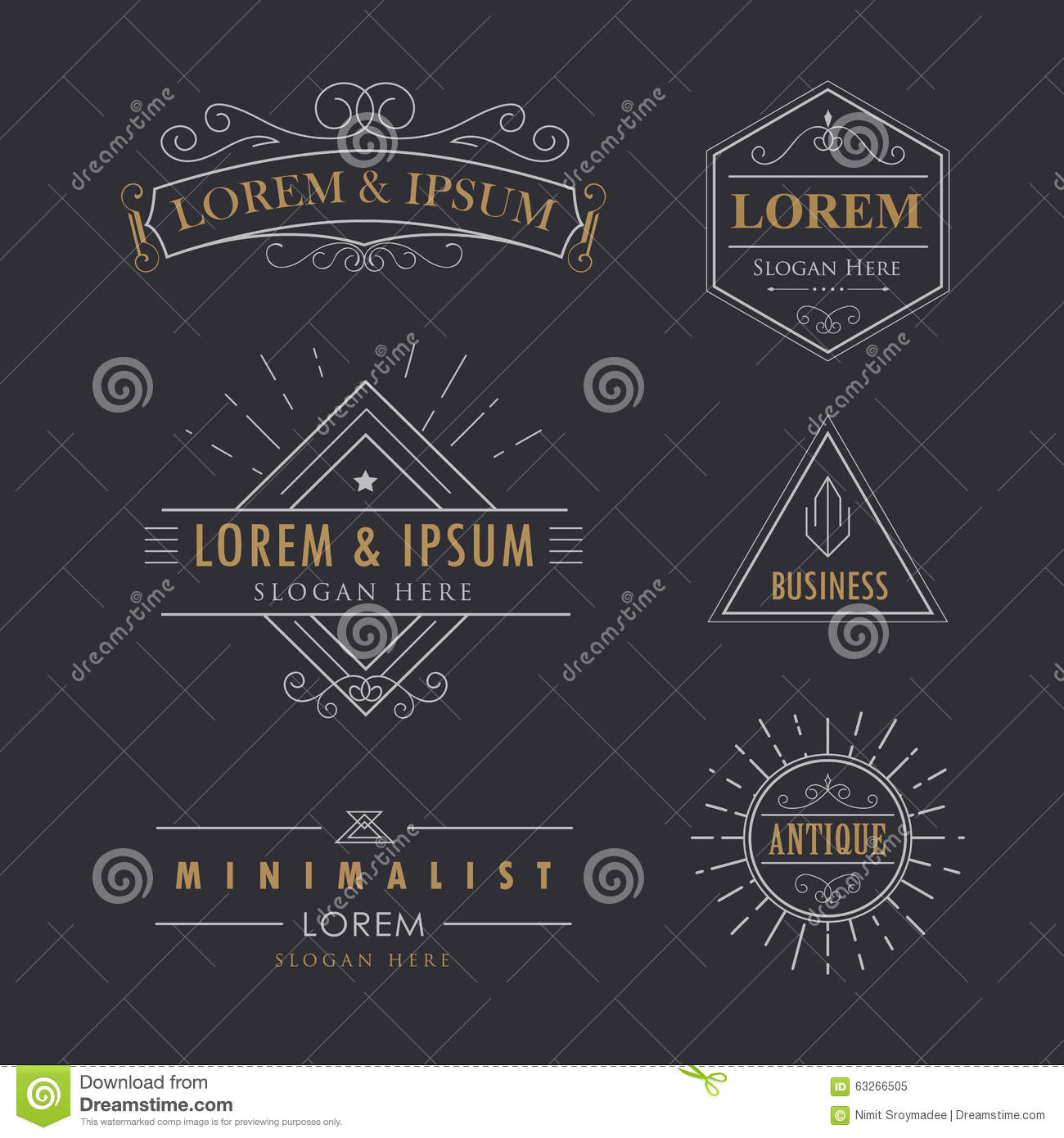 Luxury logos vintage calligraphy elegant cartoon vector