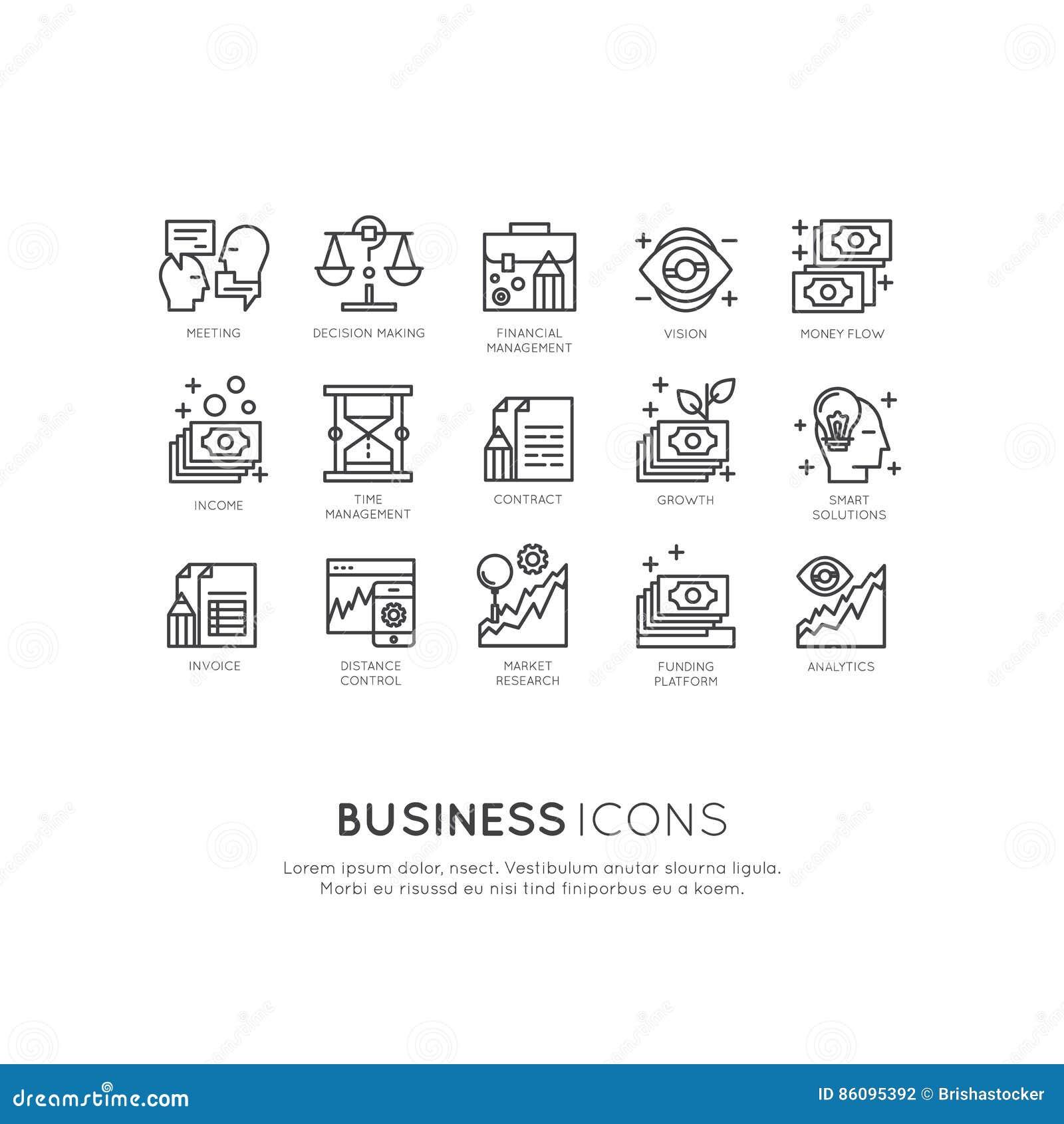 Logo Set von Analytik, Überwachung und Management-Geschäftsmodell und Strategie