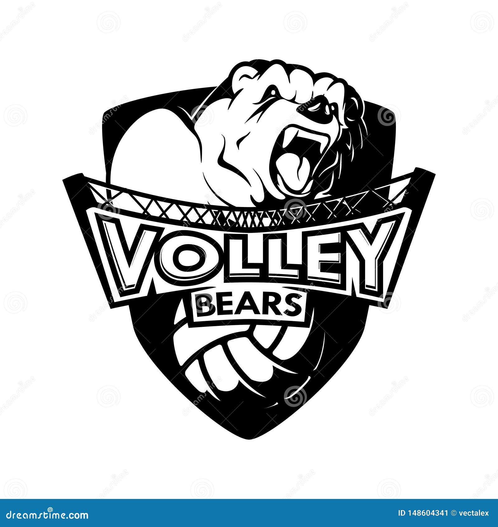 Logo Shield Volleyball Sport Bears branco preto Team Emblem monocromático