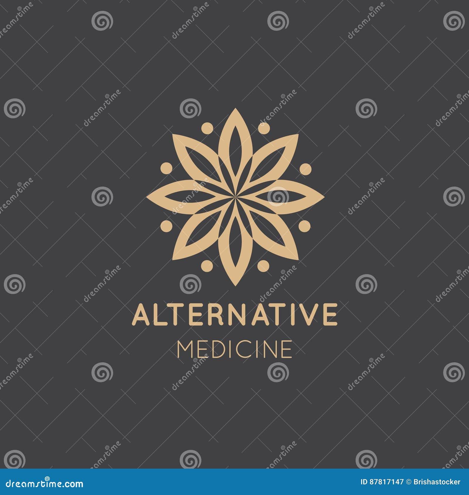 Logo Sign av alternativ medicin droppvitaminterapi som Anti--åldras, Wellness, Ayurveda, kinesisk medicin Holistisk mitt