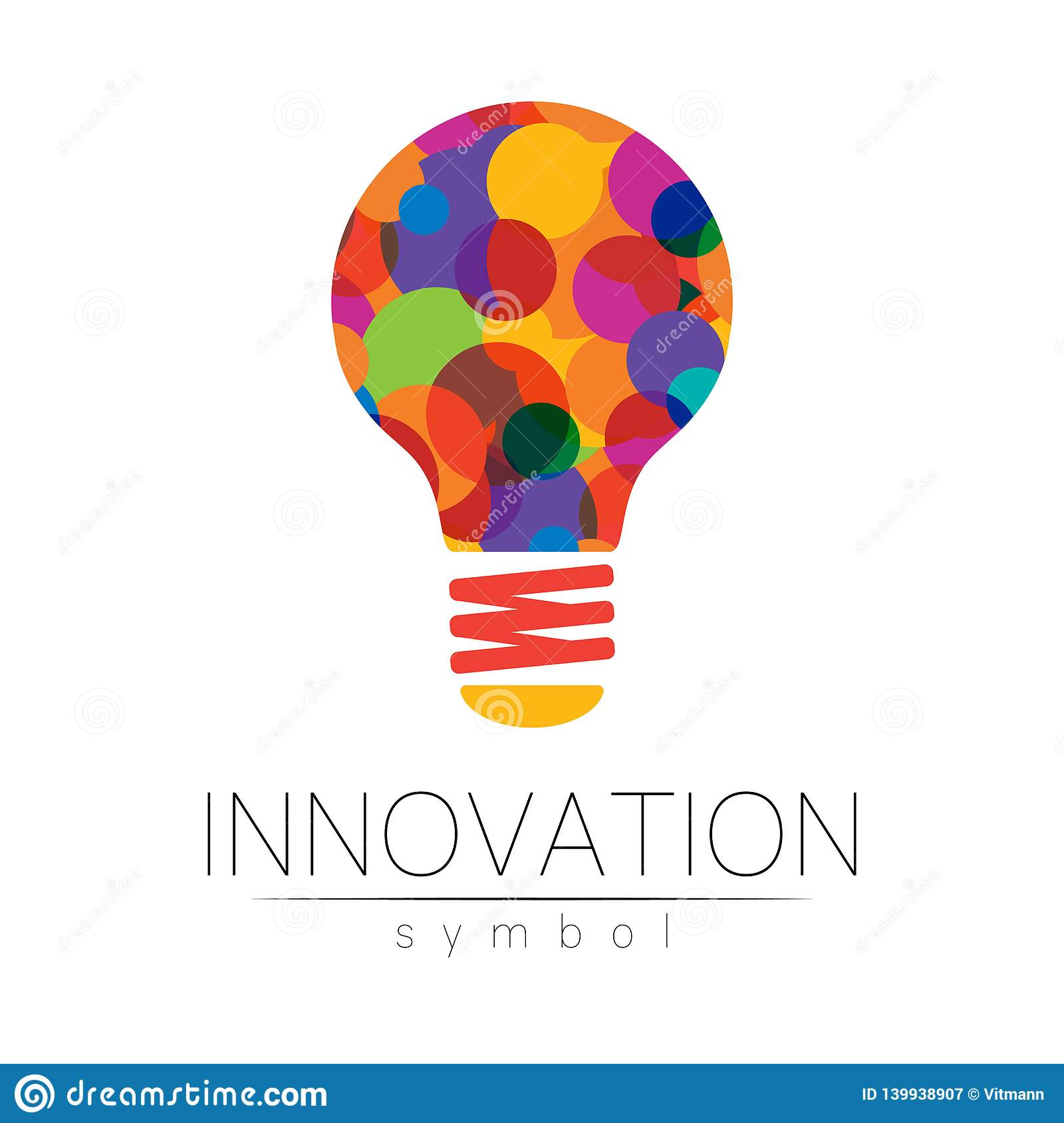 Logo sign of innovation in science. Lamp symbol for concept, business, technology, creative idea, web. Rainbow color