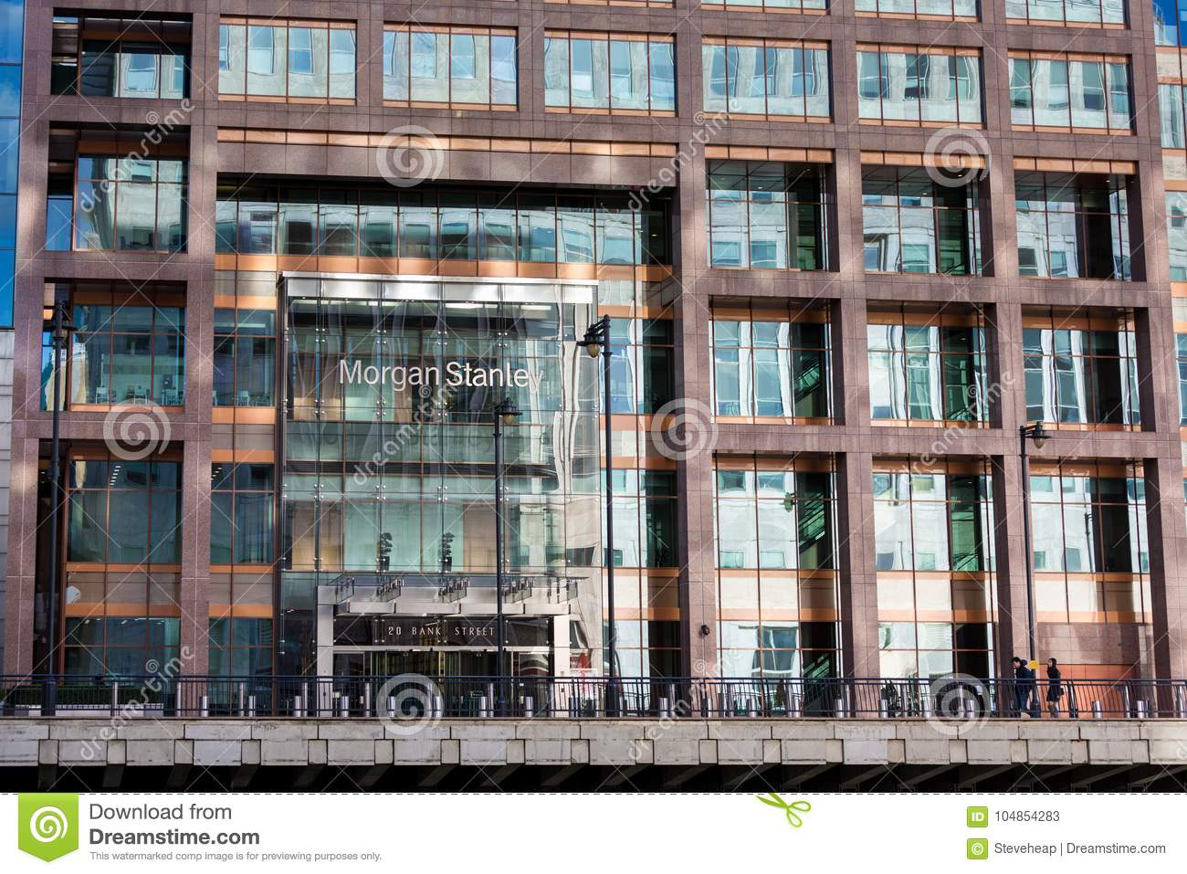 Logo Or Sign For Morgan Stanley In Canary Wharf Editorial Stock
