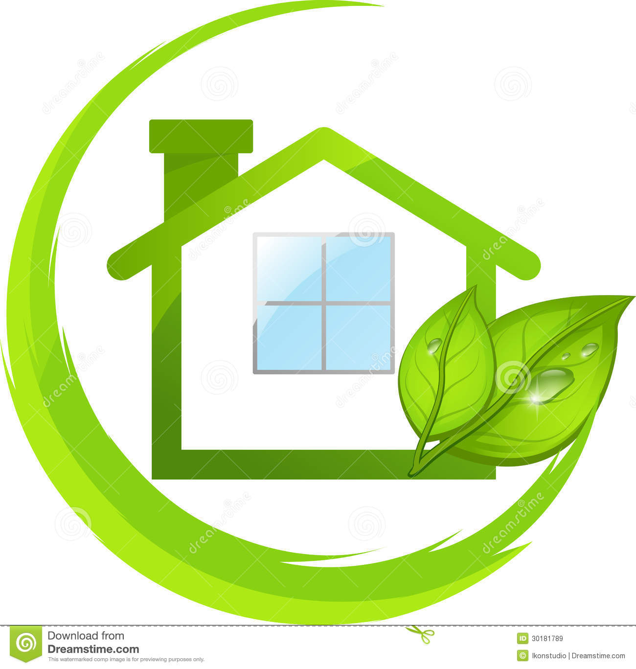 Green Logo Of Eco House With Leafs Royalty Free Stock