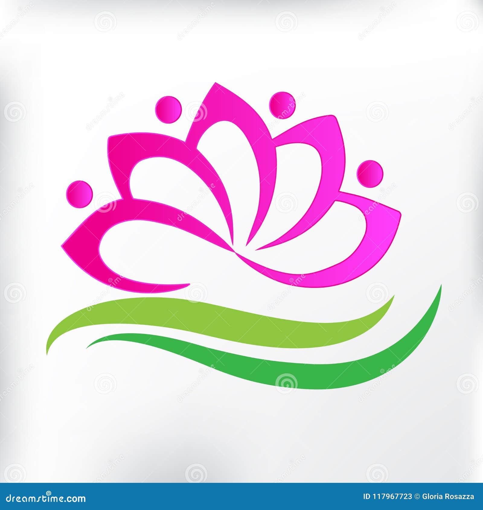 Logo Spa Massage Lotus Flower Icon Id Card Teamwork People Symbol Of